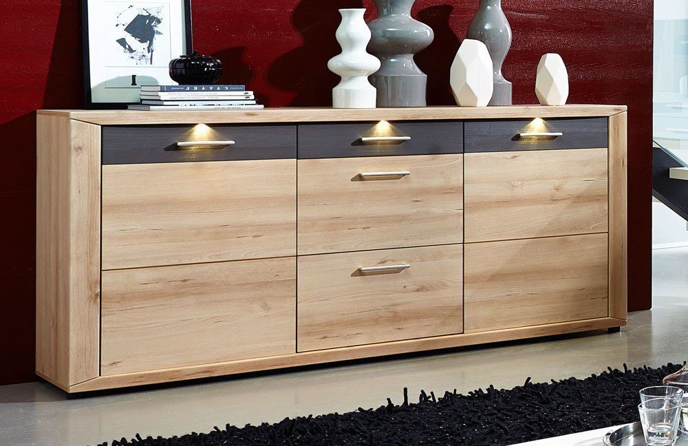 wohn concept sideboard twist buche grau mit beleuchtung m bel letz ihr online shop. Black Bedroom Furniture Sets. Home Design Ideas