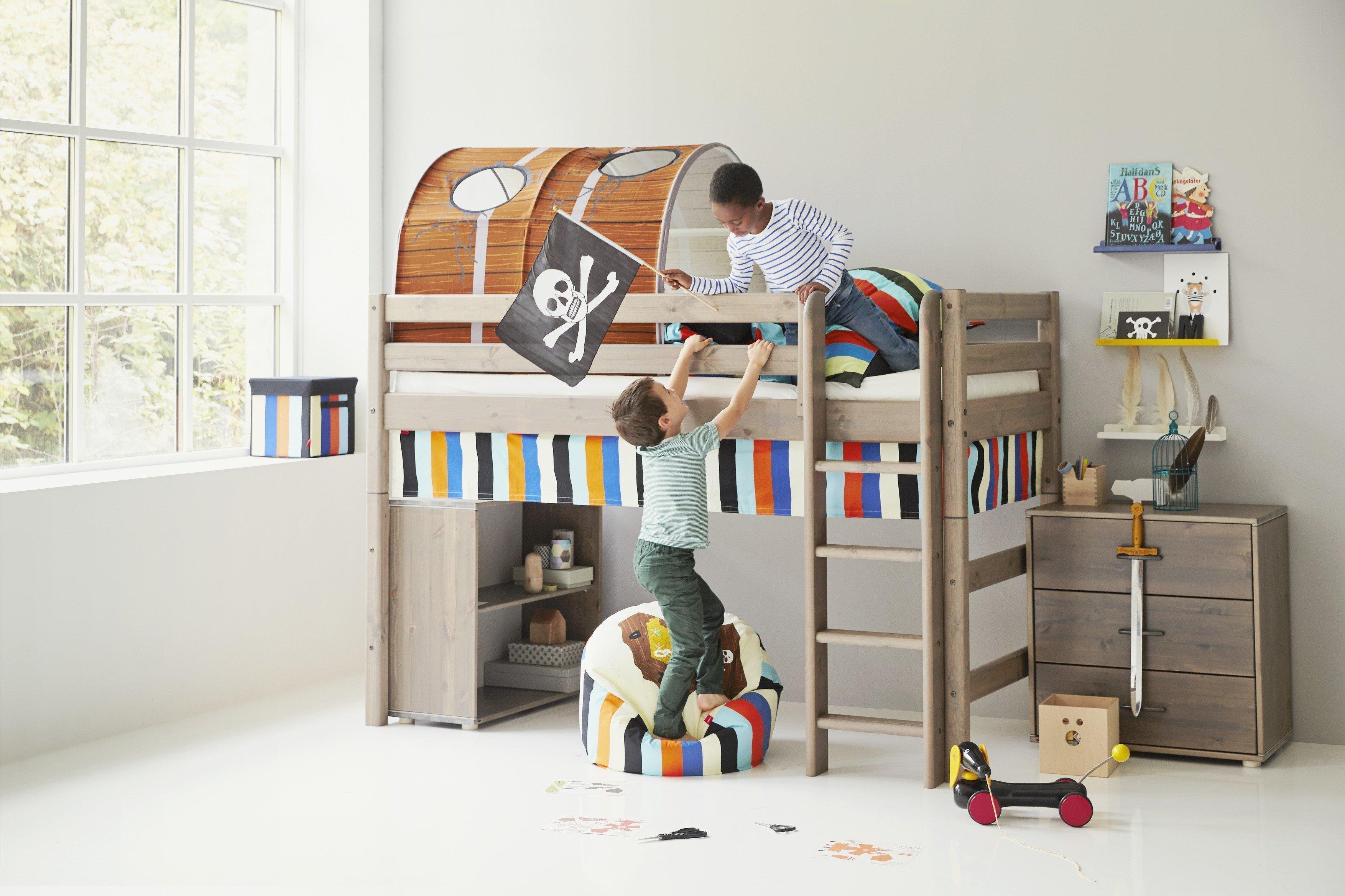 Hochbett von FLEXA Classic Holz-Bett mittelhoch Kiefer | Möbel Letz ...