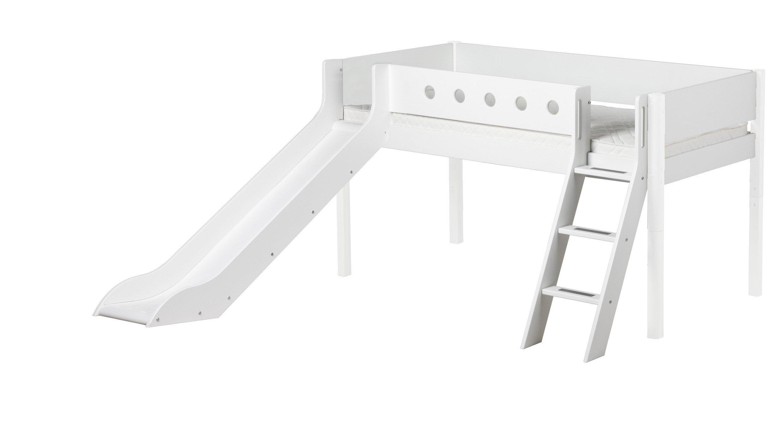 Flexa Etagenbett Schräge Leiter : Flexa white hochbett mdf weiß mit birkenpfosten möbel letz ihr