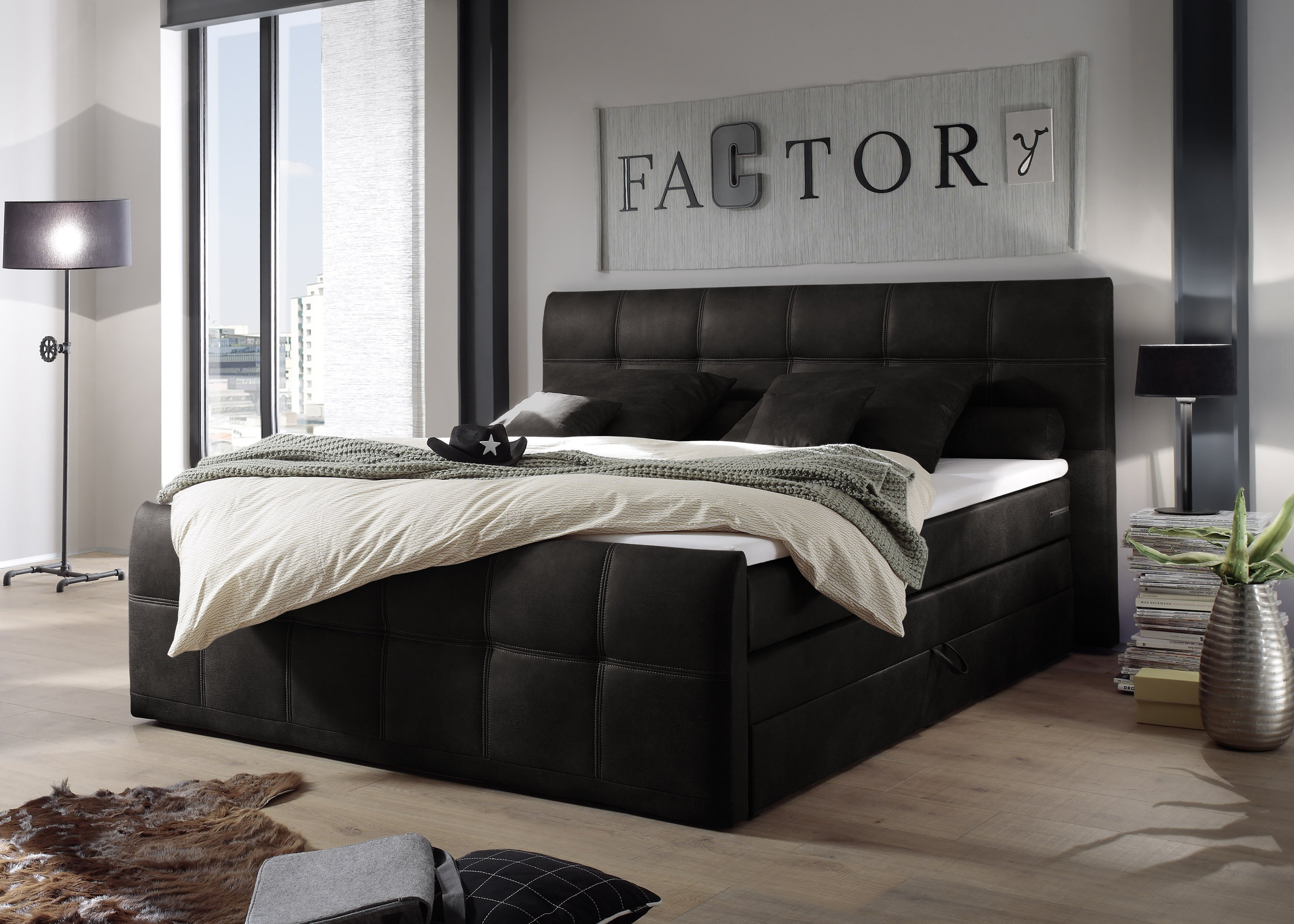 black red white boxspringbett aspen in anthrazit m bel letz ihr online shop. Black Bedroom Furniture Sets. Home Design Ideas