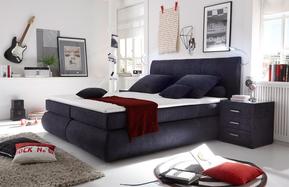 Black red white boxspringbett daytona in dunkelblau m bel letz ihr online shop - Black red white boxspringbett ...