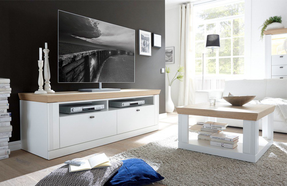 lmie tv lowboard bolero lack wei eiche furniert m bel letz ihr online shop. Black Bedroom Furniture Sets. Home Design Ideas