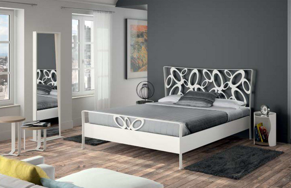 bett wei metall. Black Bedroom Furniture Sets. Home Design Ideas
