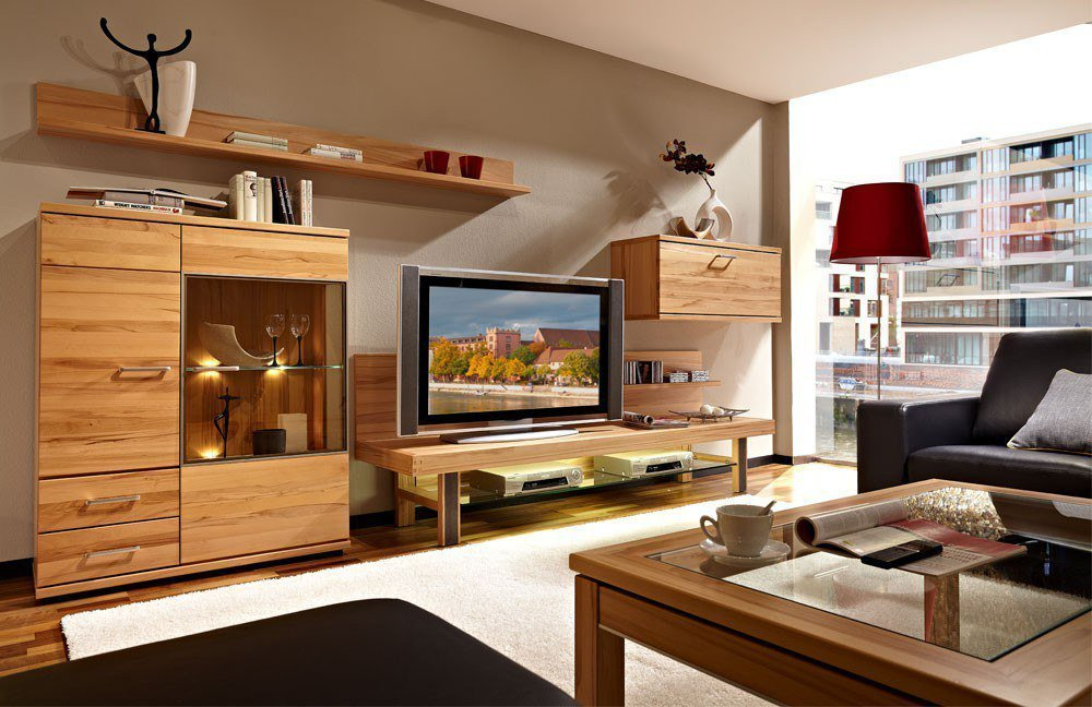 schr der m bel wohnwand cara v6 kernbuche m bel letz ihr online shop. Black Bedroom Furniture Sets. Home Design Ideas