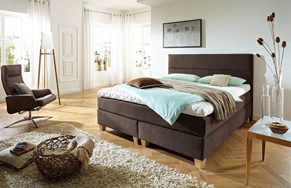schwedische betten boxspringbett modell premium in hellbraun inklusive topmatratze m bel letz. Black Bedroom Furniture Sets. Home Design Ideas