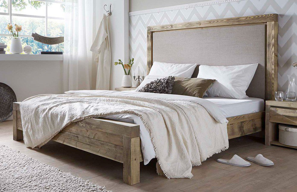 pure natur unikat bett grau gewachst m bel letz ihr online shop. Black Bedroom Furniture Sets. Home Design Ideas
