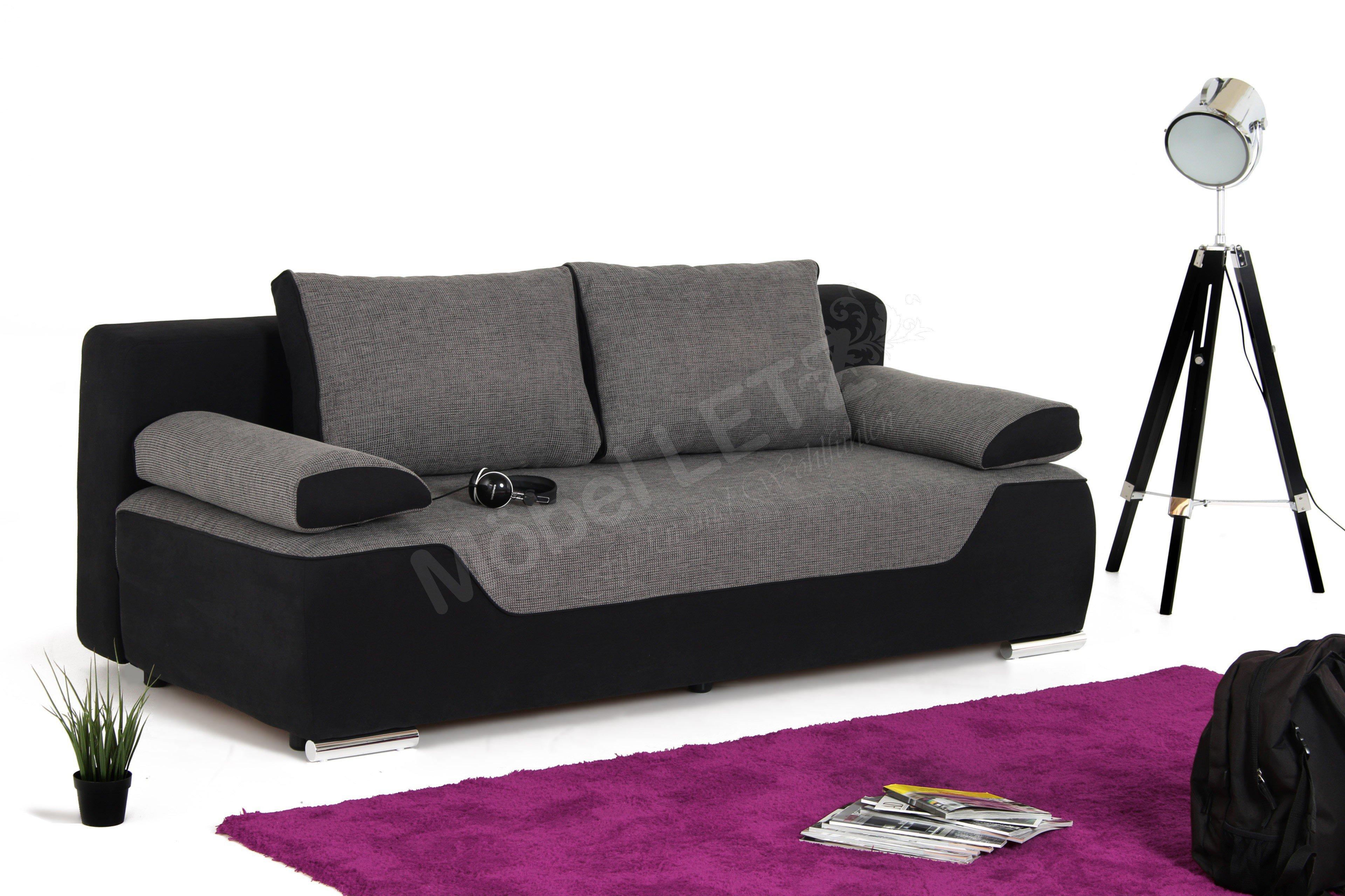 schlafsofa 140x200 bettkasten schlafcouch mit federkern. Black Bedroom Furniture Sets. Home Design Ideas