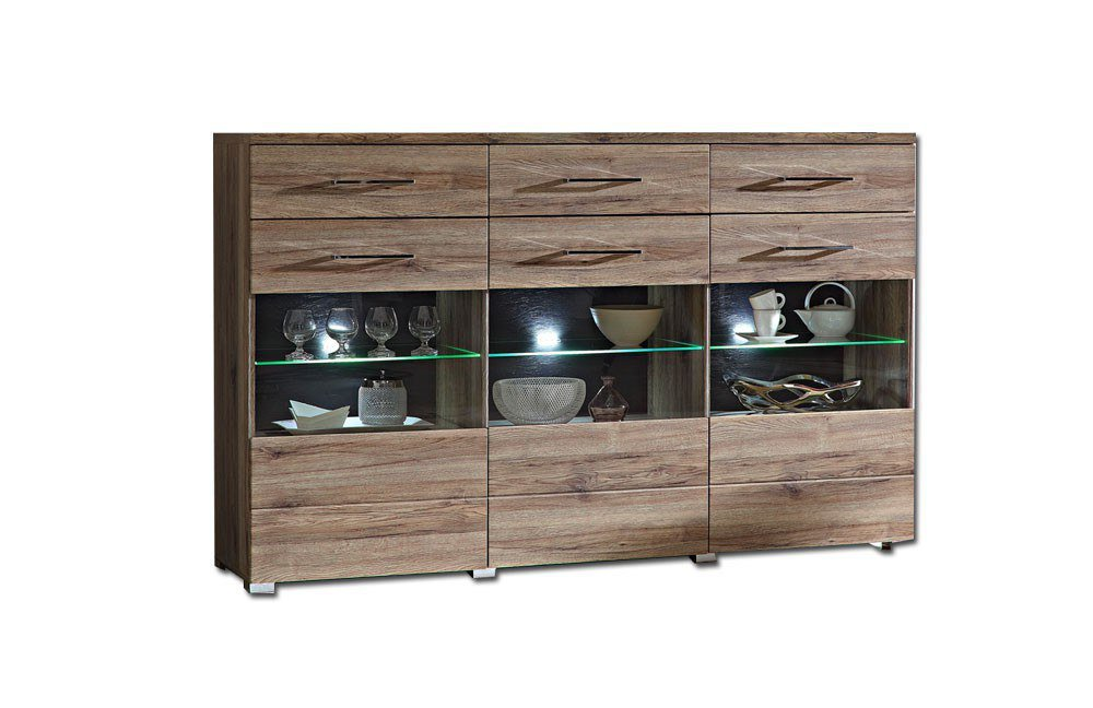 highboard eiche excellent highboard lindholm wei. Black Bedroom Furniture Sets. Home Design Ideas