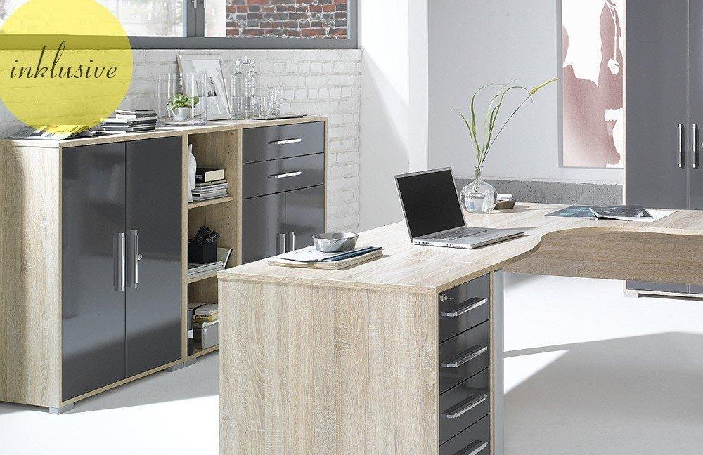 maja b rom bel system eiche hochglanz grau m bel letz ihr online shop. Black Bedroom Furniture Sets. Home Design Ideas
