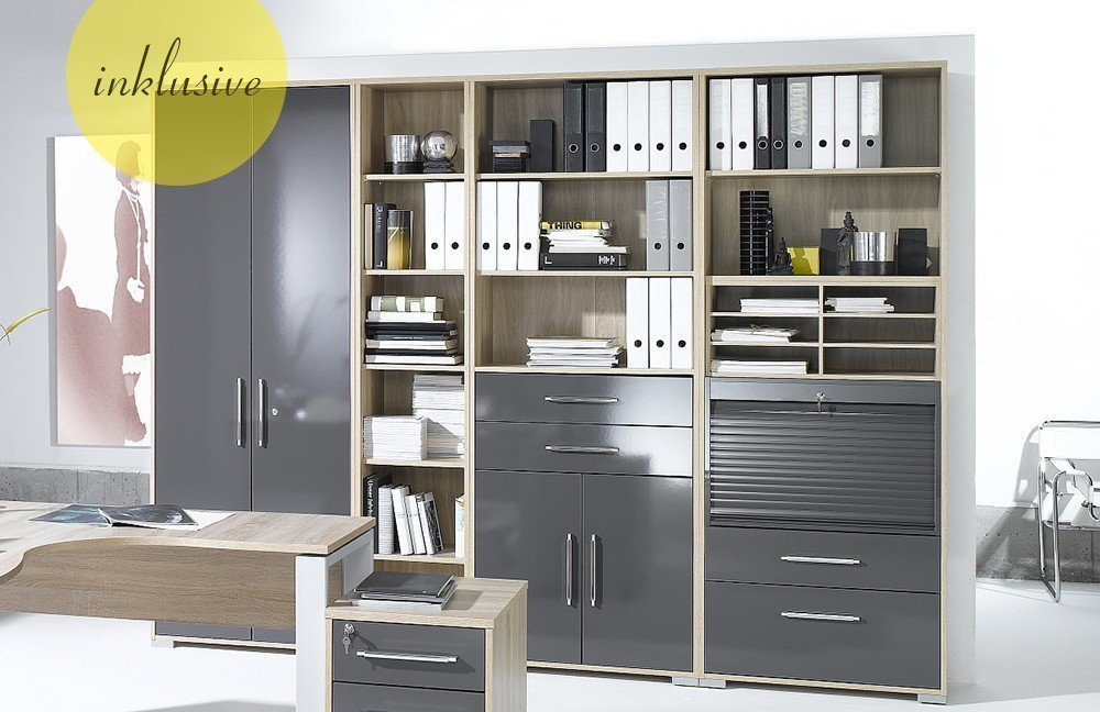 maja b rom bel system eiche hochglanz grau m bel letz ihr online shop. Black Bedroom Furniture Sets. Home Design Ideas