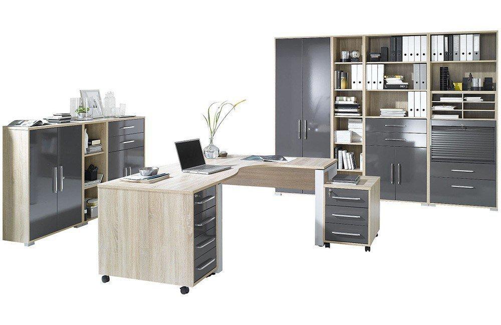 Maja Büromöbel System Eiche-Hochglanz grau | Möbel Letz - Ihr Online ...