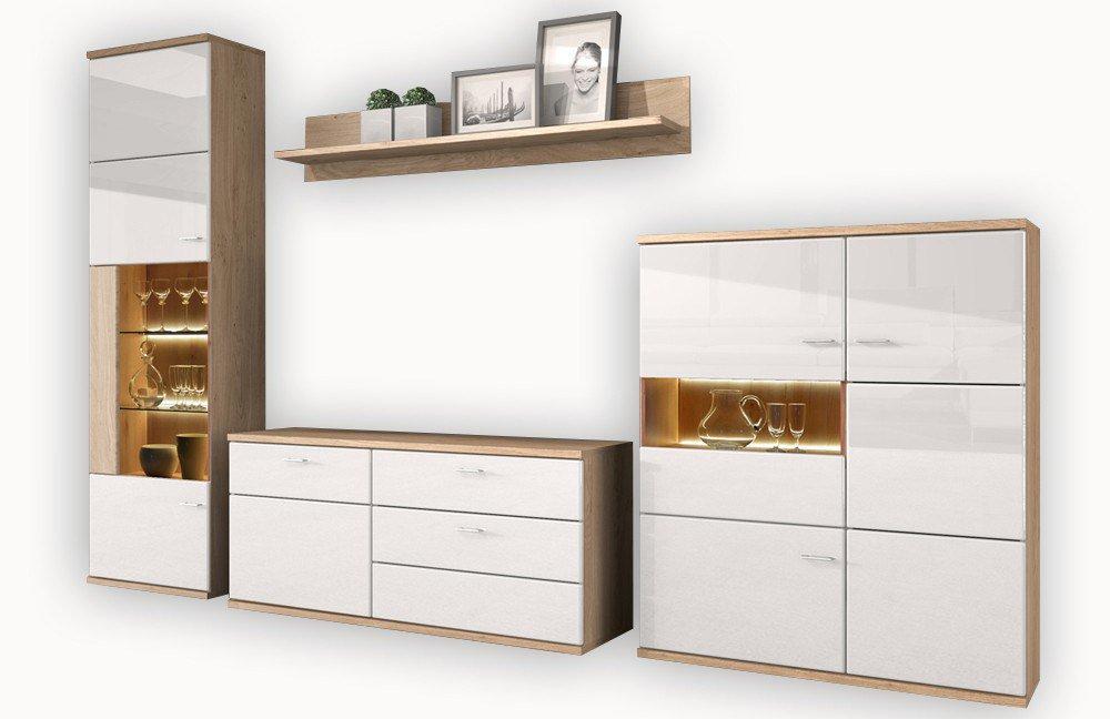 Nett moderner wohnzimmerschrank mit glast ren und led for Wohnwand wobona