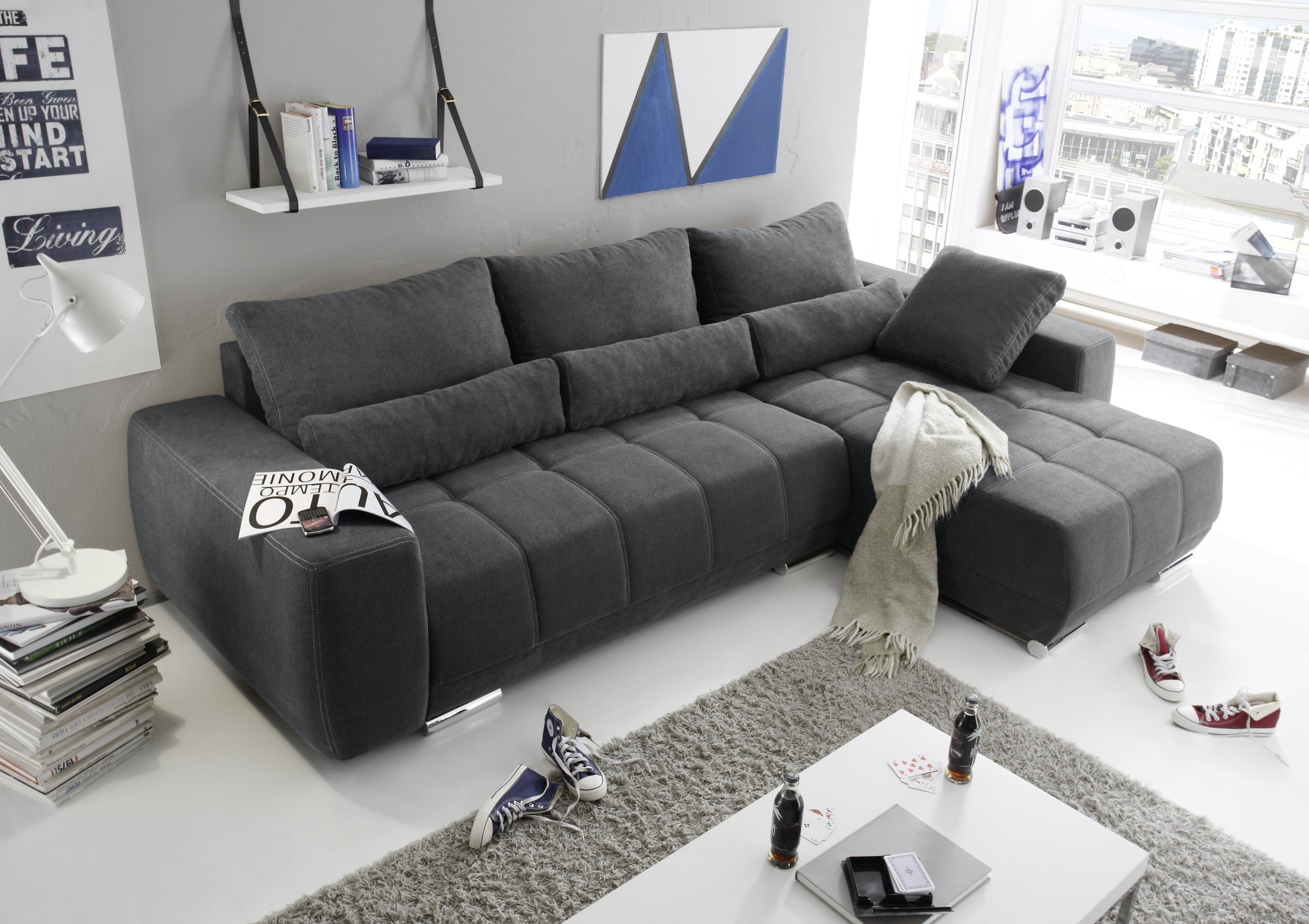Black Red White Lopez Ecksofa anthrazit | Möbel Letz - Ihr Online-Shop