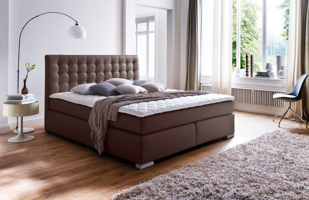 meise boxspringbett isa in braun mit gepolsterten kopfteil m bel letz ihr online shop. Black Bedroom Furniture Sets. Home Design Ideas