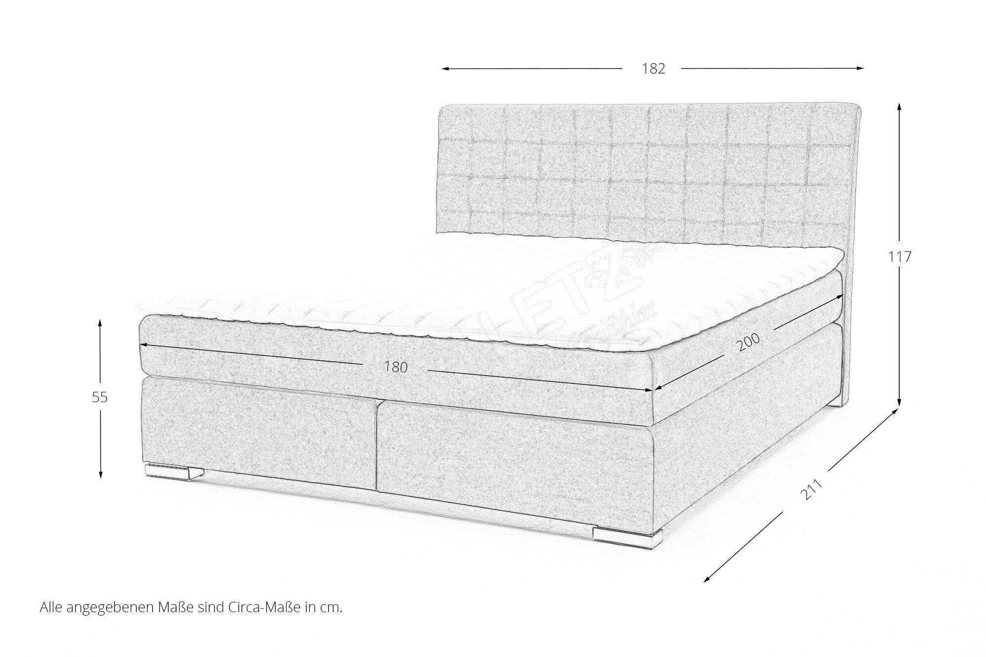 meise boxspringbett lenno in grau mit metallf en m bel letz ihr online shop. Black Bedroom Furniture Sets. Home Design Ideas