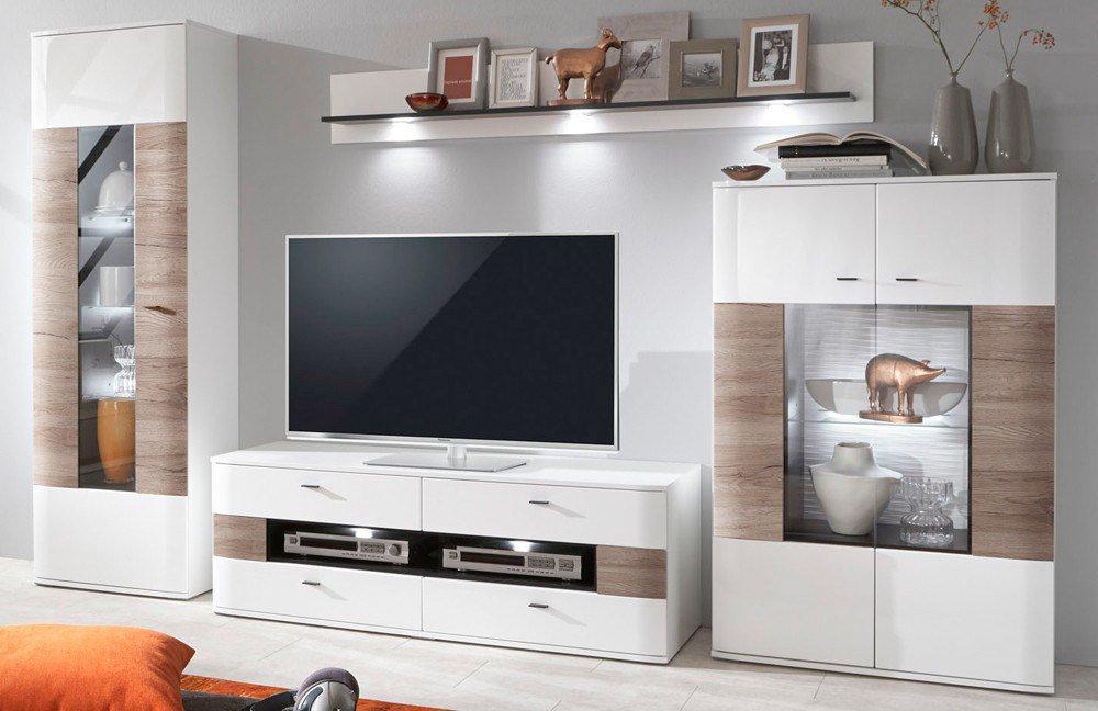 ideal m bel wohnwand dallas 03 san remo sand wei m bel letz ihr online shop. Black Bedroom Furniture Sets. Home Design Ideas