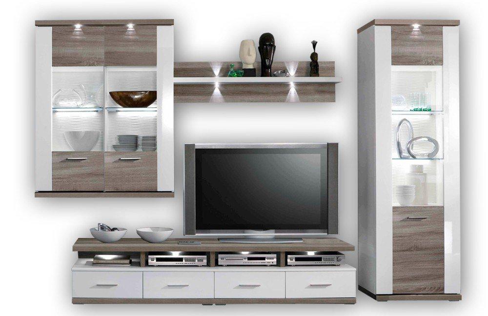Ideal Möbel Wohnwand Manhattan 2b Weiß Eiche Trüffel Möbel Letz