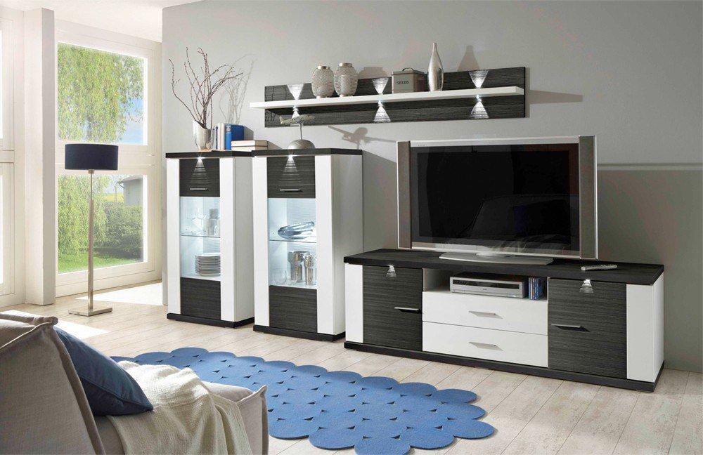ideal m bel wohnwand manhattan 15b wei graphit m bel letz ihr online shop. Black Bedroom Furniture Sets. Home Design Ideas
