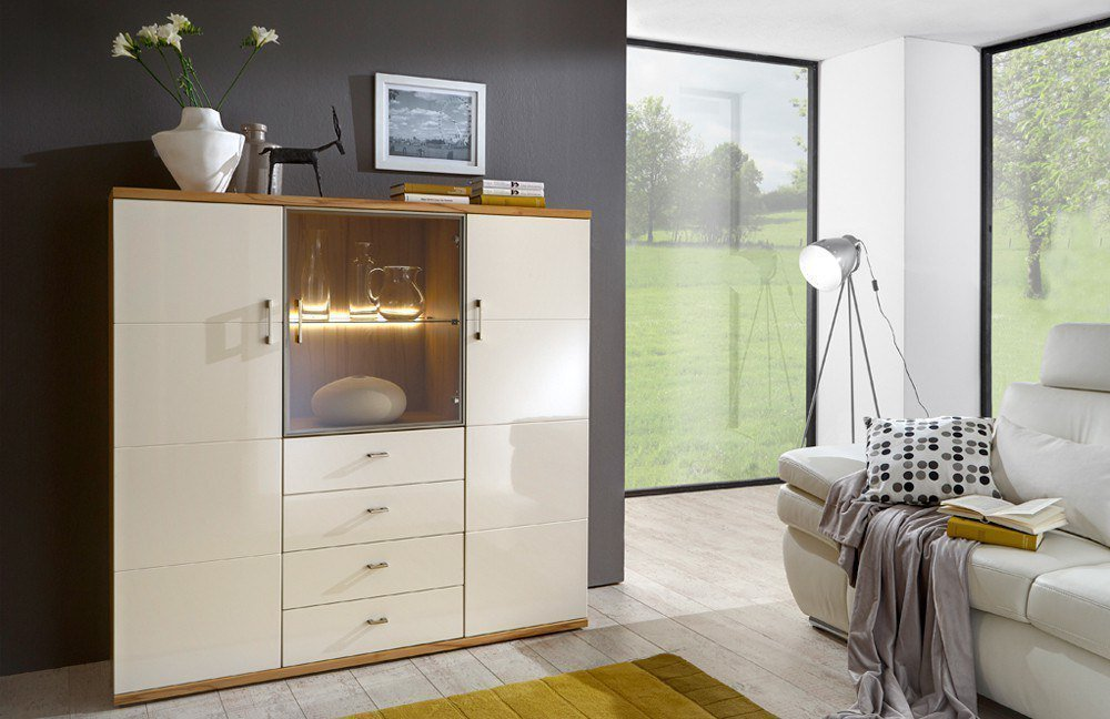 ideal m bel highboard preno kernbuche vanille m bel letz ihr online shop. Black Bedroom Furniture Sets. Home Design Ideas