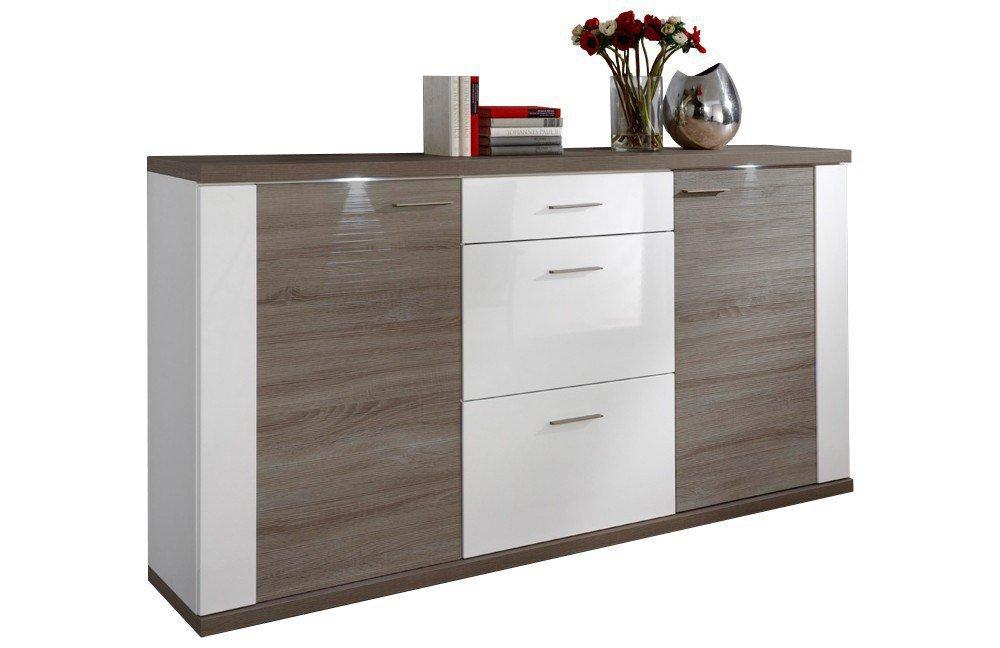 Ideal Möbel Sideboard Manhattan Weiß Eiche Trüffel Möbel Letz