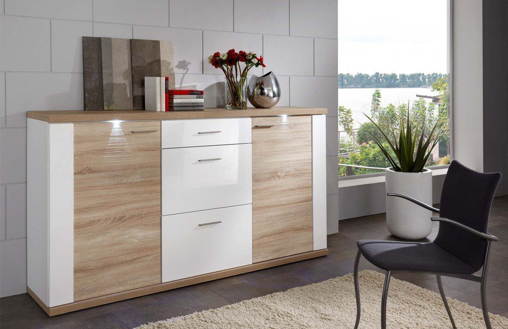 Ideal Mobel Sideboard Manhattan Eiche Weiss Mobel Letz Ihr