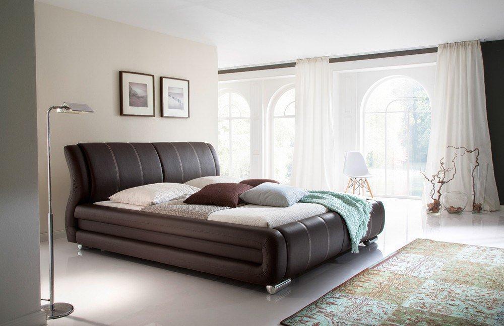 meise polsterbett bolzano in kunstleder braun mit beigefarbenen n hten m bel letz ihr online shop. Black Bedroom Furniture Sets. Home Design Ideas