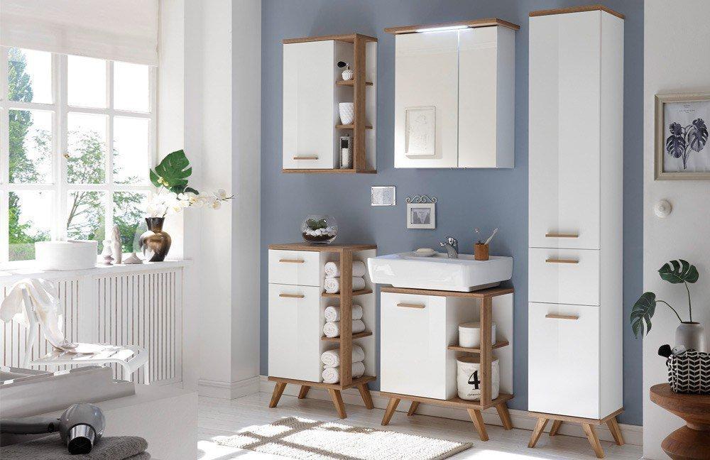 Noventa von Pelipal - Badezimmer in Weiß Glanz/ Eiche, 2-teilig