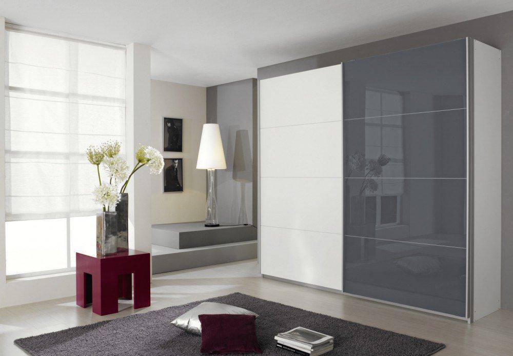 Schwebetürenschrank weiß grau  Rauch Quadra Schweber weiß - Glas grau | Möbel Letz - Ihr Online-Shop