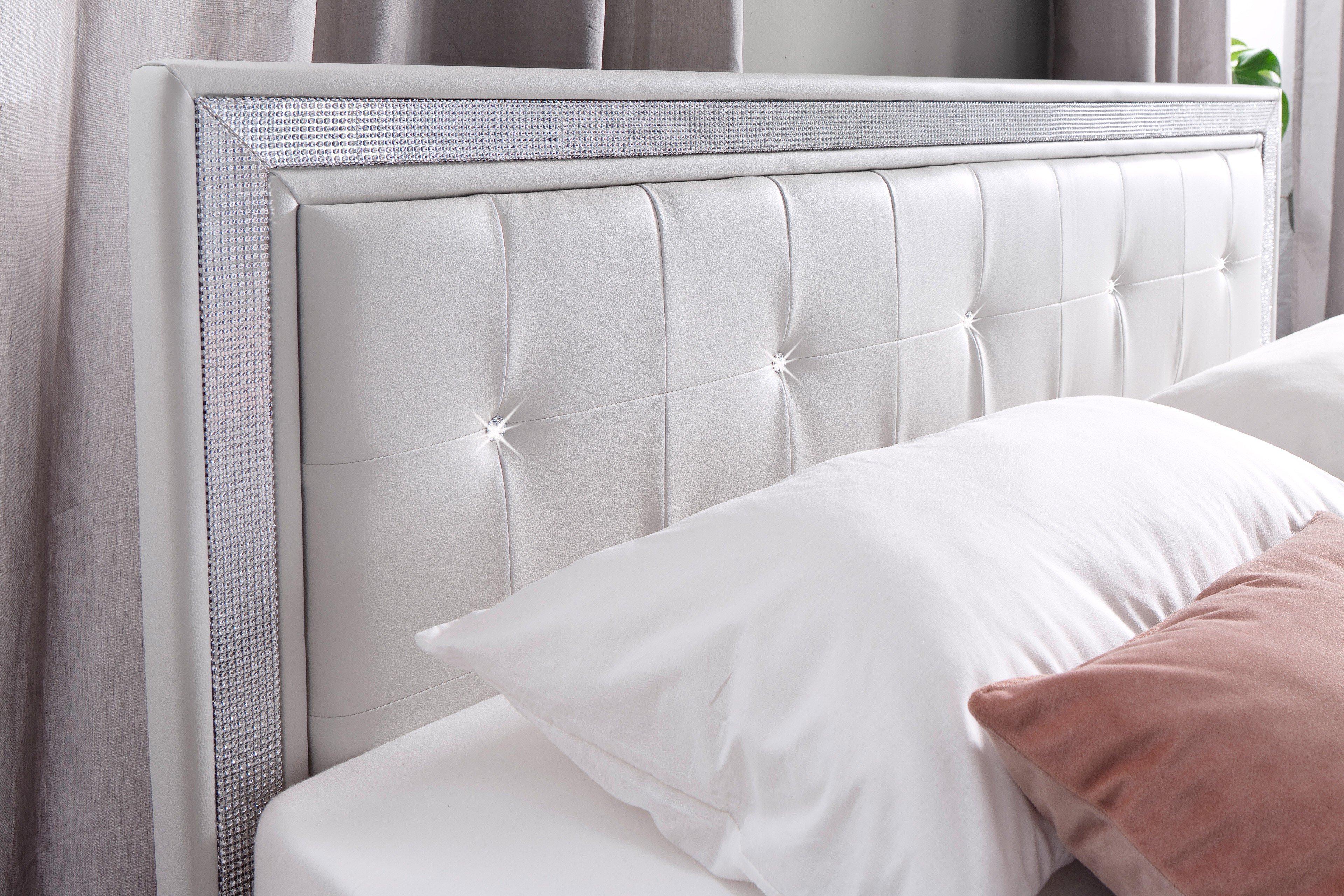 Mylife Von Meise Möbel   Polsterbett Weiß Mit Strasssteinen