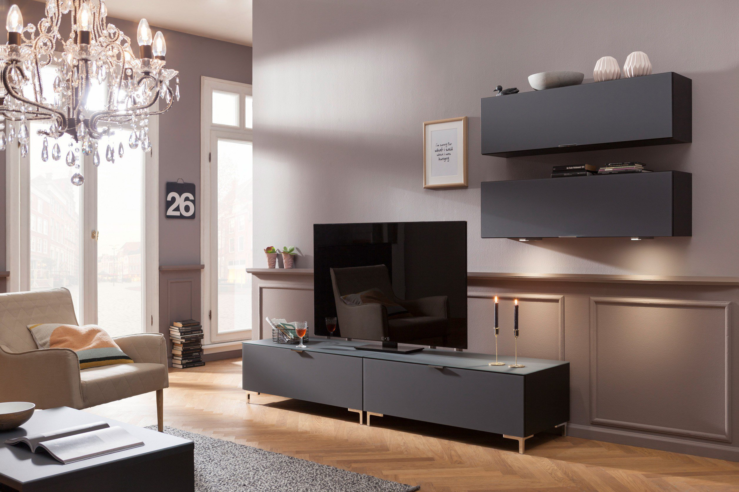 cs schmalm bel wohnwand cleo special edition grau schwarz m bel letz ihr online shop. Black Bedroom Furniture Sets. Home Design Ideas