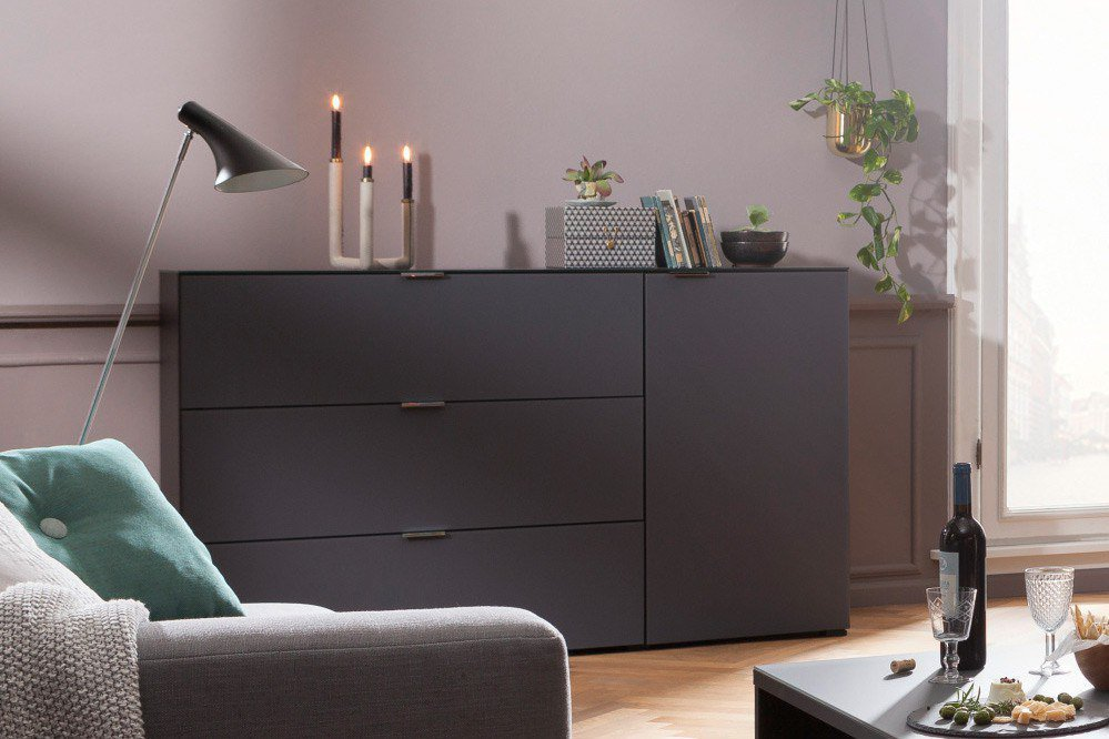 cs schmalm bel wohnwand cleo special edition schwarz grau m bel letz ihr online shop. Black Bedroom Furniture Sets. Home Design Ideas