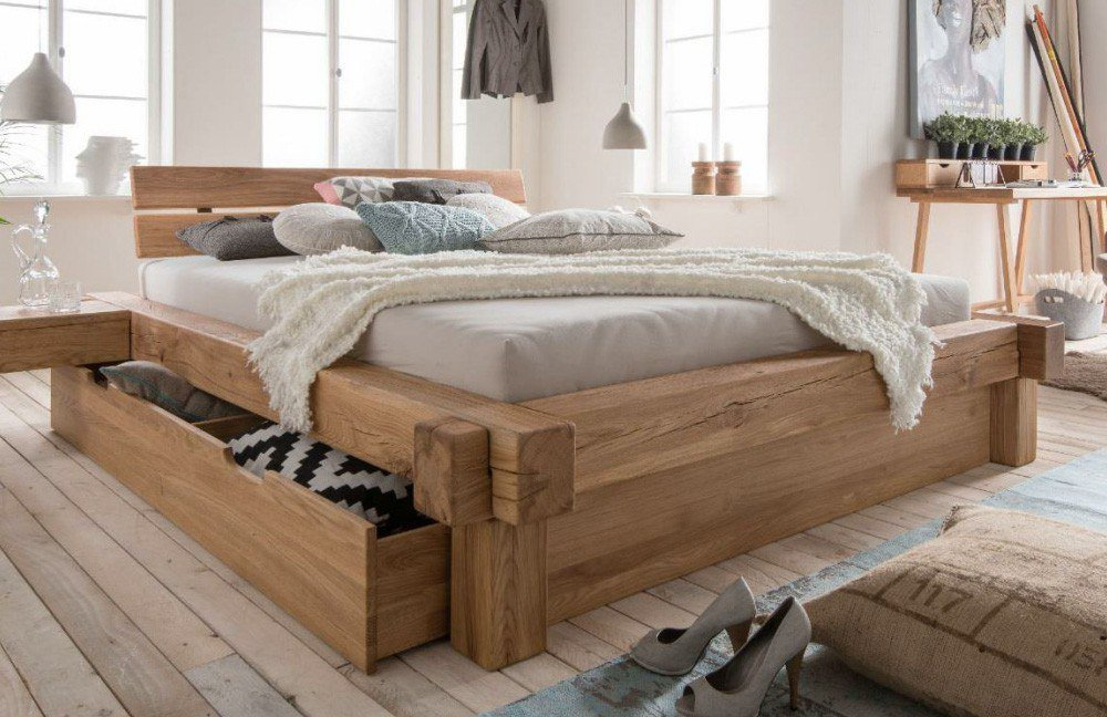 pure natur wildeiche bett mit bettk sten m bel letz. Black Bedroom Furniture Sets. Home Design Ideas