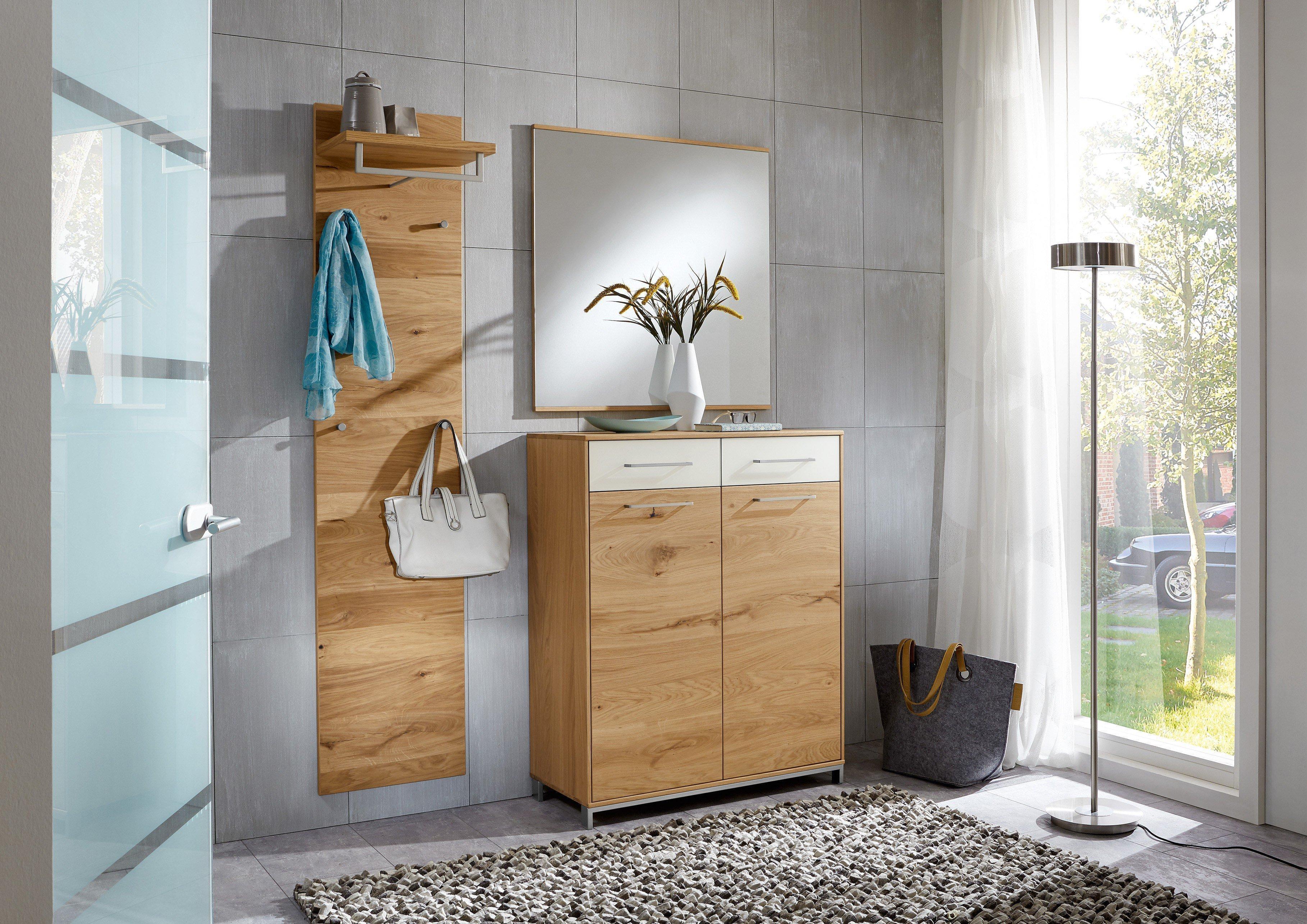 voss garderobe vedo balkeneiche mattglas wei m bel letz. Black Bedroom Furniture Sets. Home Design Ideas