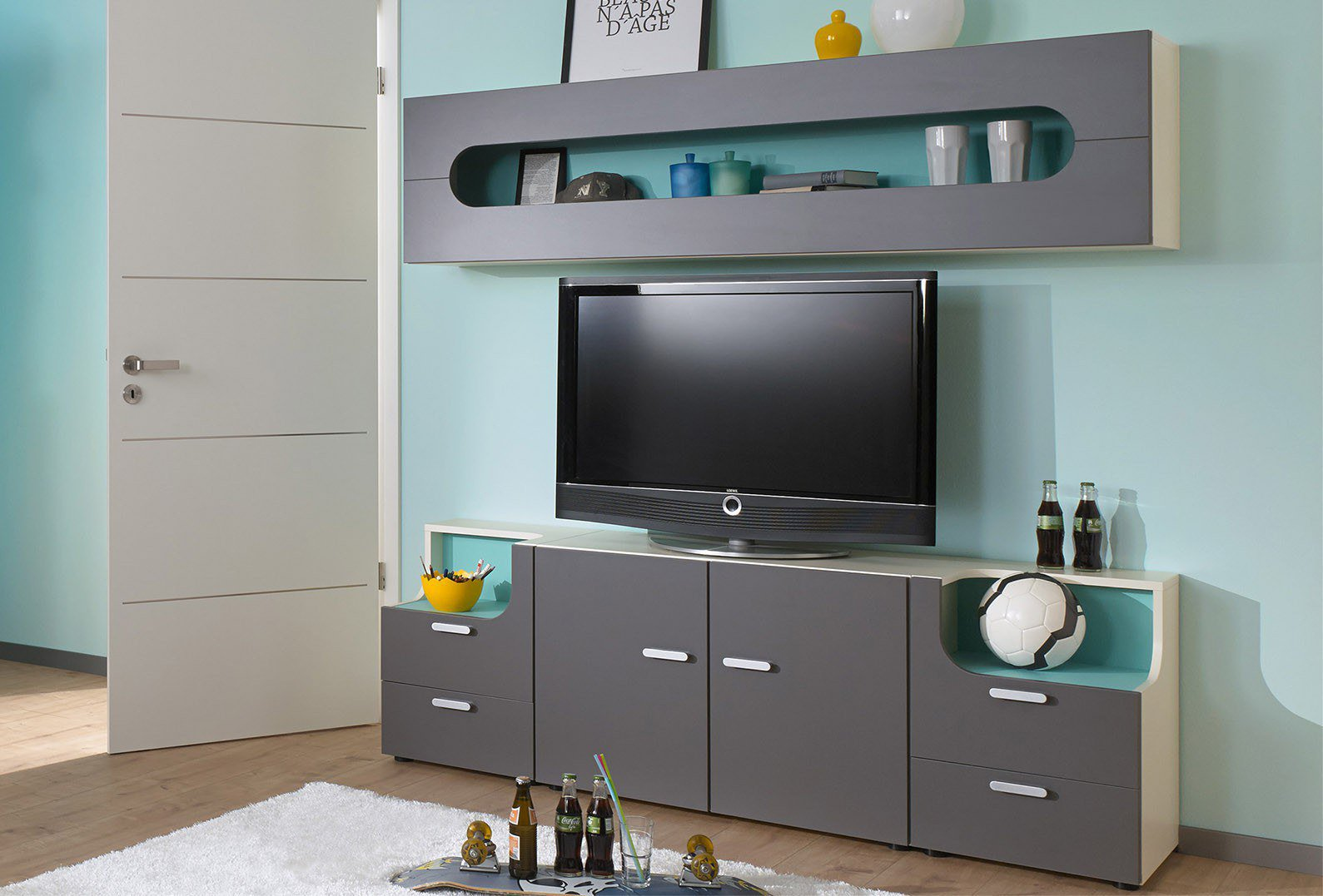 max i wohnwand rudolf creme felsgrau t rkis m bel letz ihr online shop. Black Bedroom Furniture Sets. Home Design Ideas