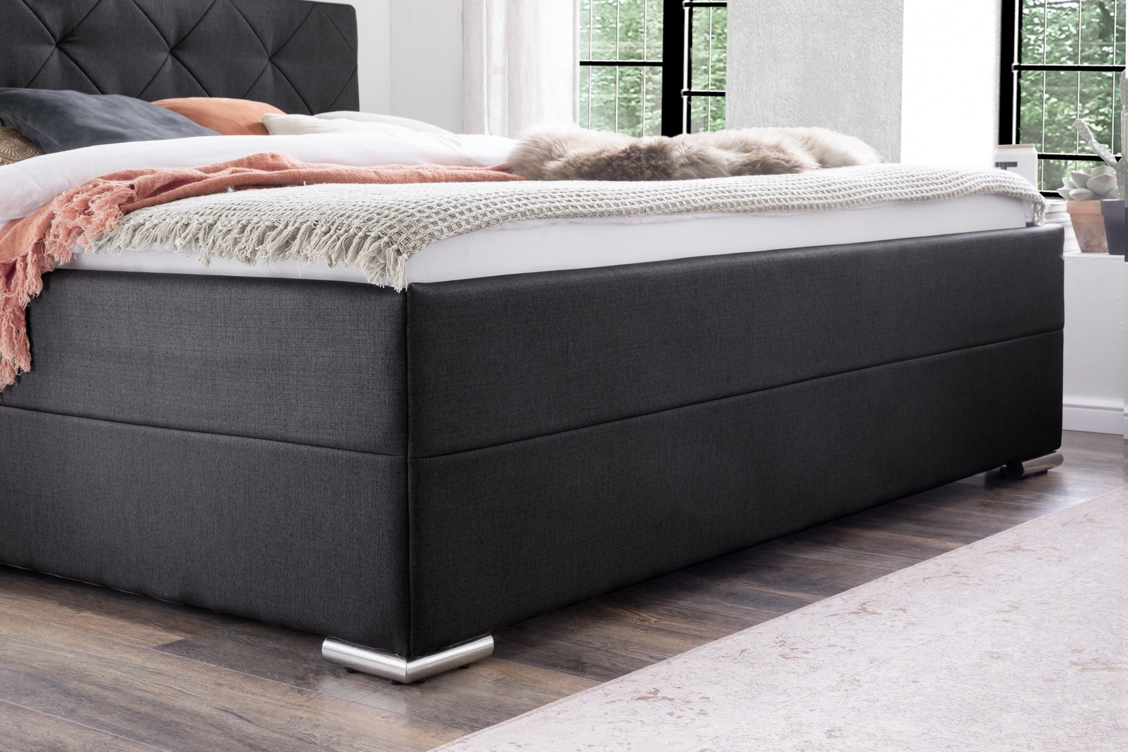 meise polsterbett chicago in anthrazit mit gepolstertem. Black Bedroom Furniture Sets. Home Design Ideas