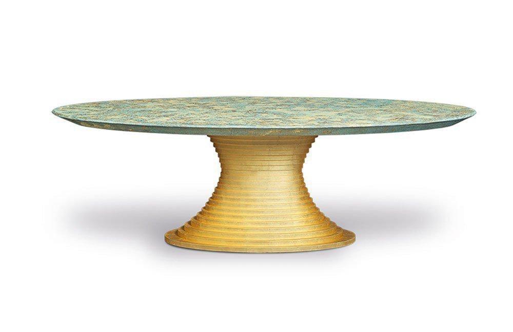 Nofretete Von Bretz   Esstisch Oval In Gold/ Messing Türkis