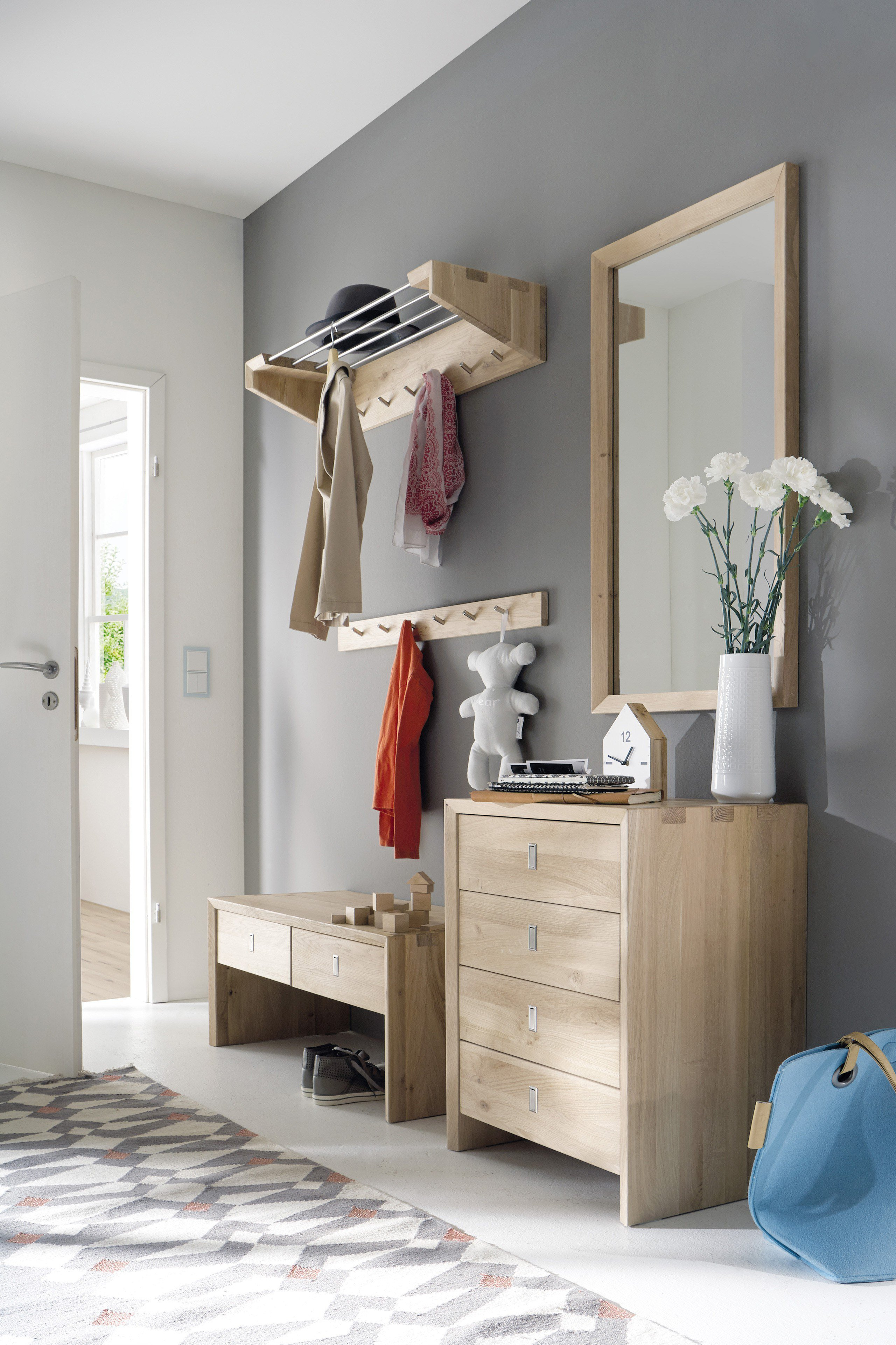 Pure natur garderobe tilde in wildeiche bianco m bel for Garderobe wildeiche