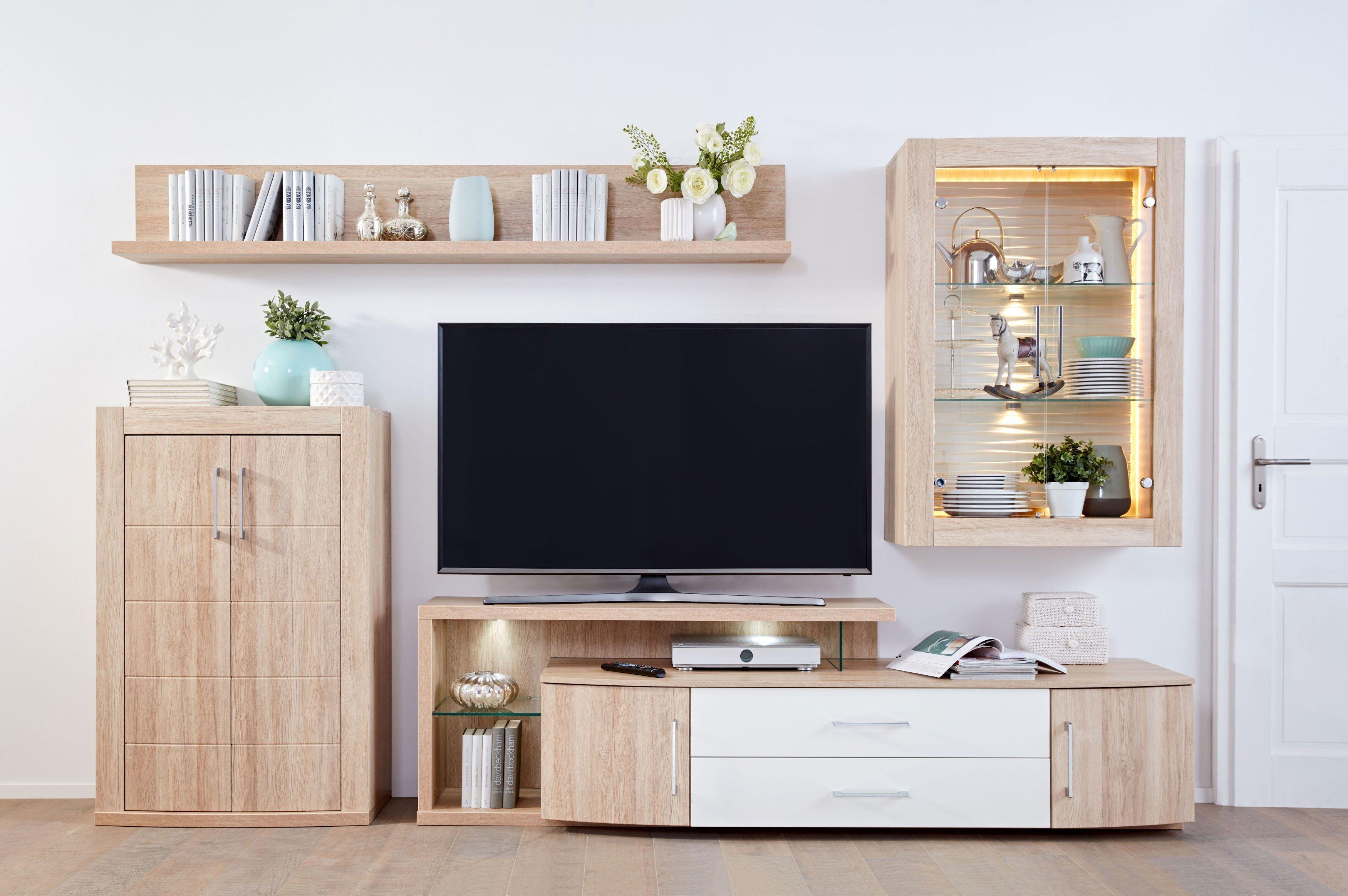 prenneis wohnwand mailand plus portos 3549 sandeiche creme wei m bel letz ihr online shop. Black Bedroom Furniture Sets. Home Design Ideas