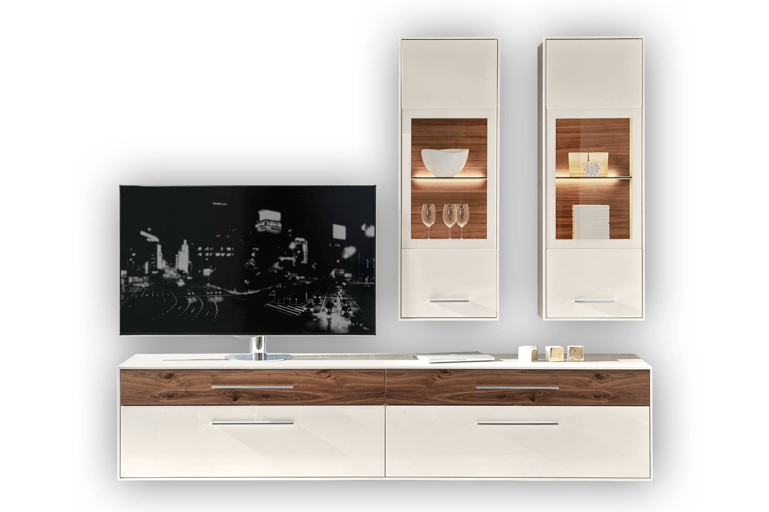 loddenkemper wohnwand fino wei nussbaum m bel letz ihr online shop. Black Bedroom Furniture Sets. Home Design Ideas