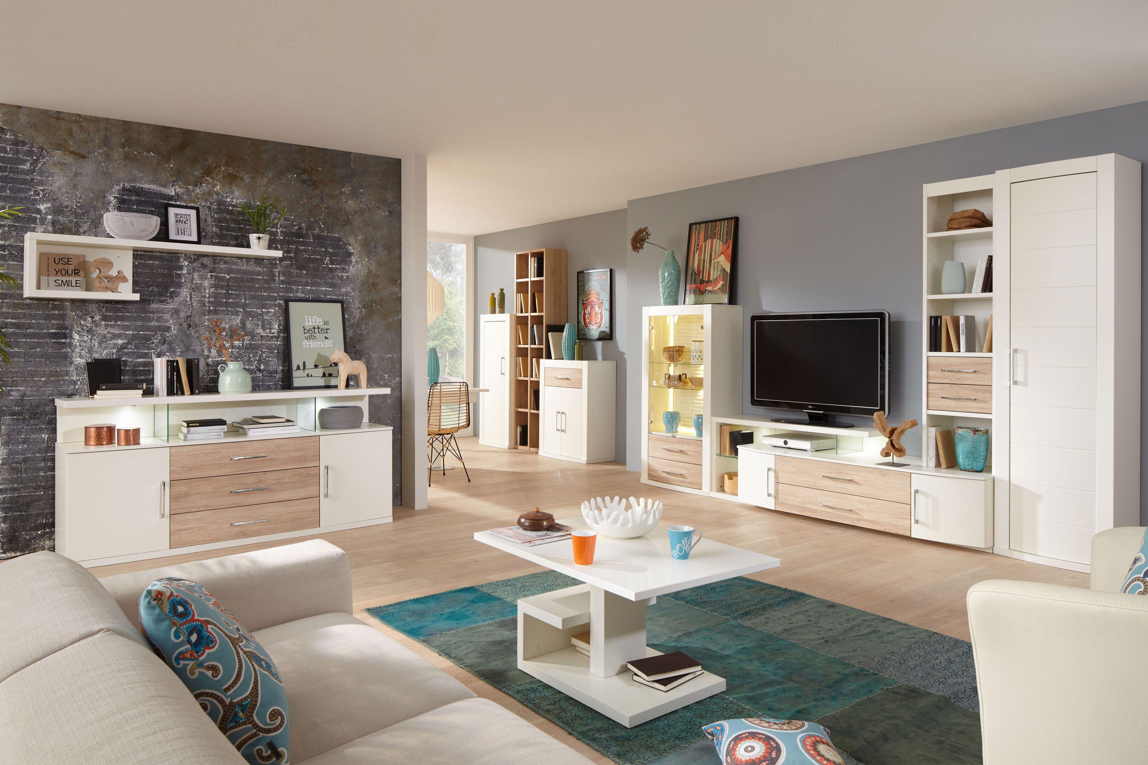 prenneis wohnwand mailand plus portos 3539 creme wei sandeiche m bel letz ihr online shop. Black Bedroom Furniture Sets. Home Design Ideas