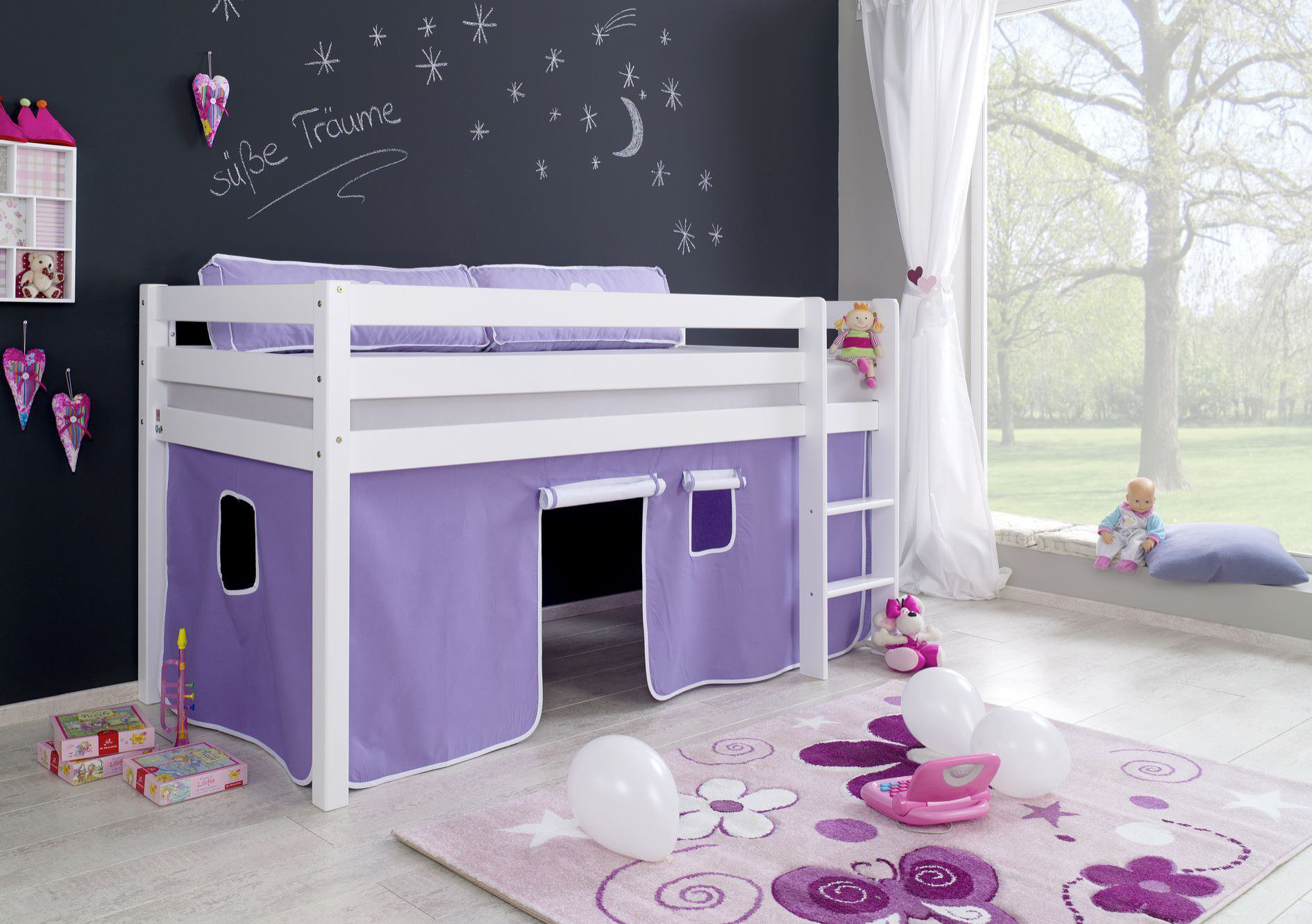 relita alex bett vorhang purple wei m bel letz ihr online shop. Black Bedroom Furniture Sets. Home Design Ideas