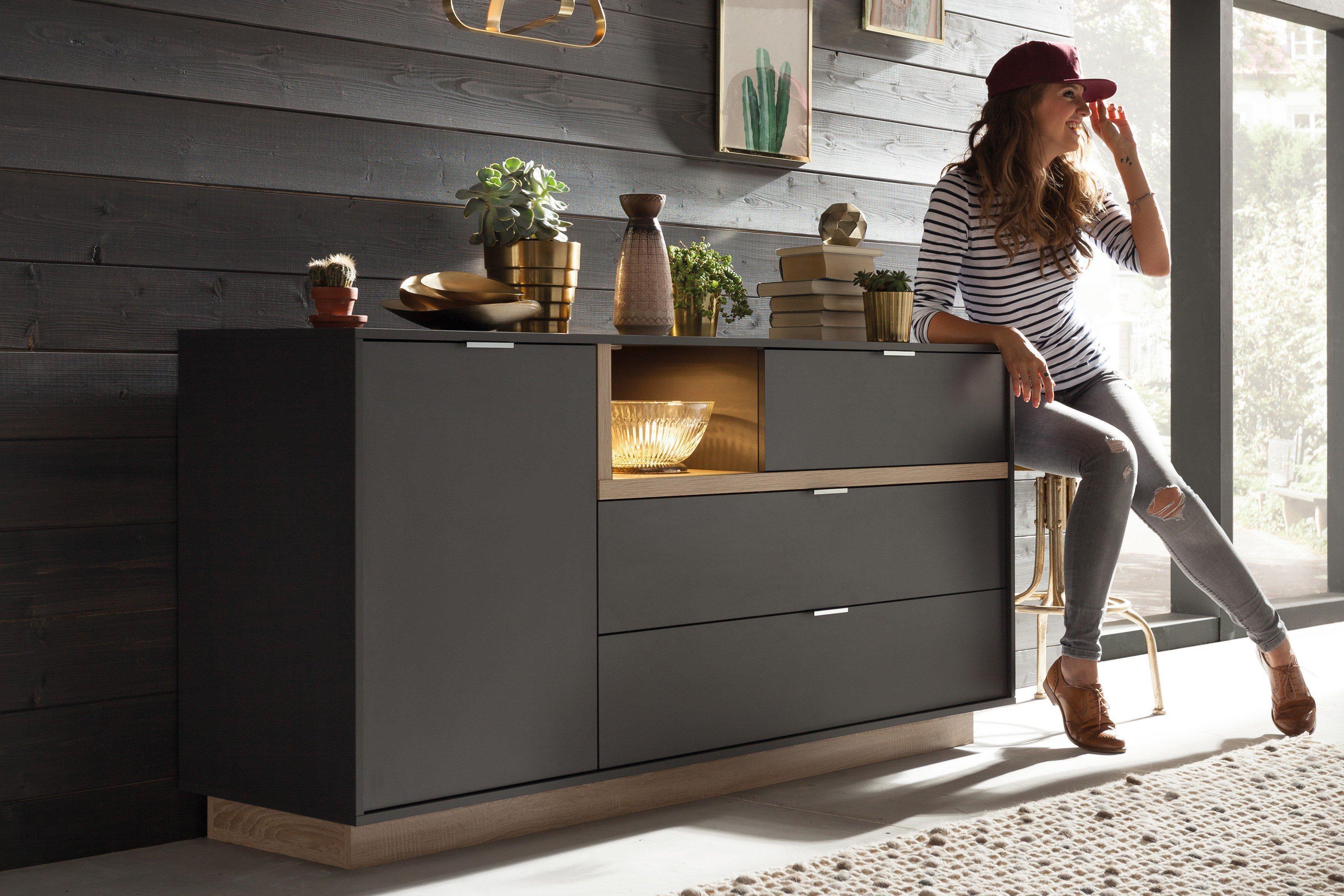 cs schmalm bel sideboard my ell graphit eiche m bel. Black Bedroom Furniture Sets. Home Design Ideas