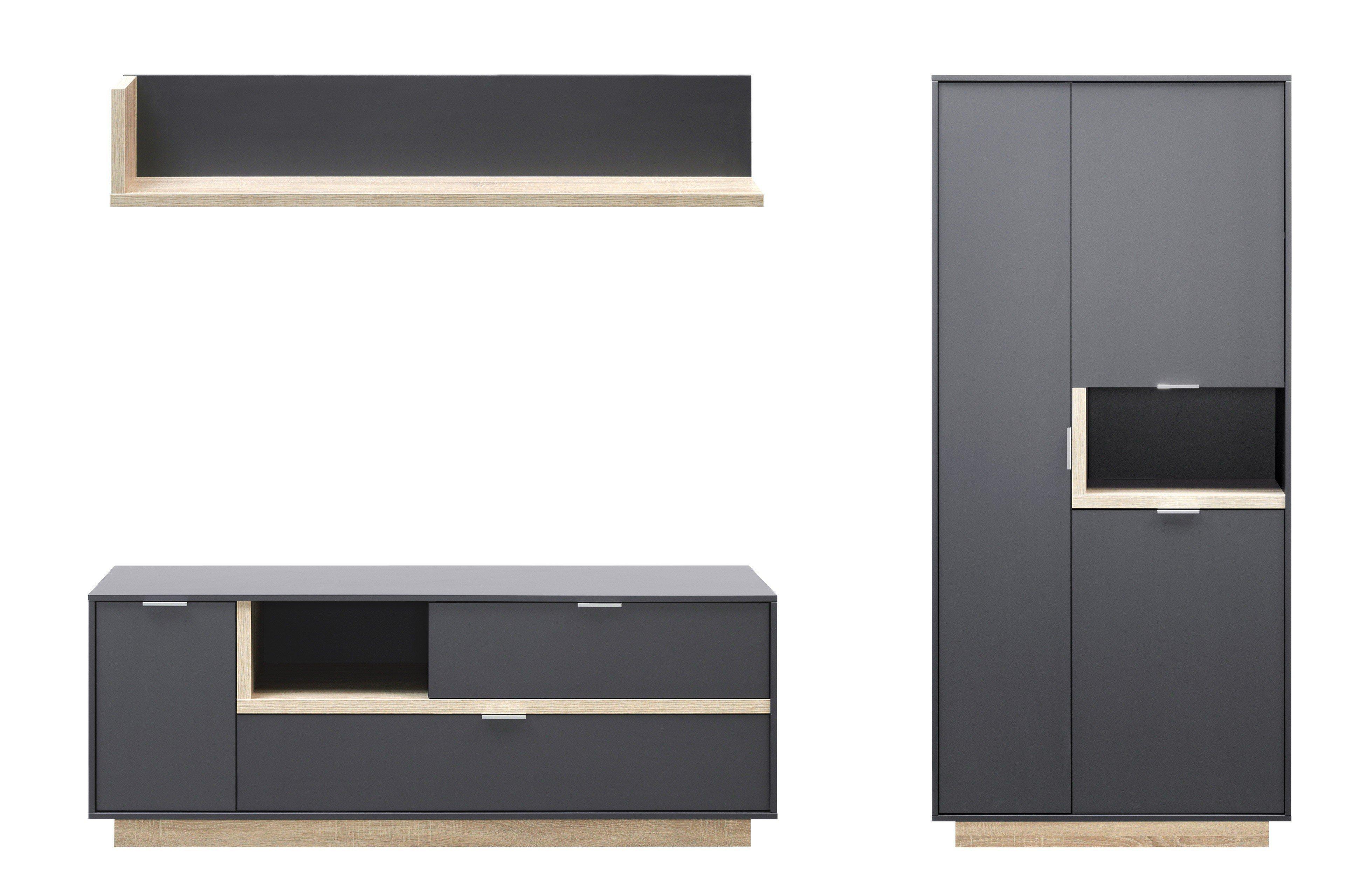 cs schmalm bel wohnwand my ell dreiteilig m bel letz ihr online shop. Black Bedroom Furniture Sets. Home Design Ideas