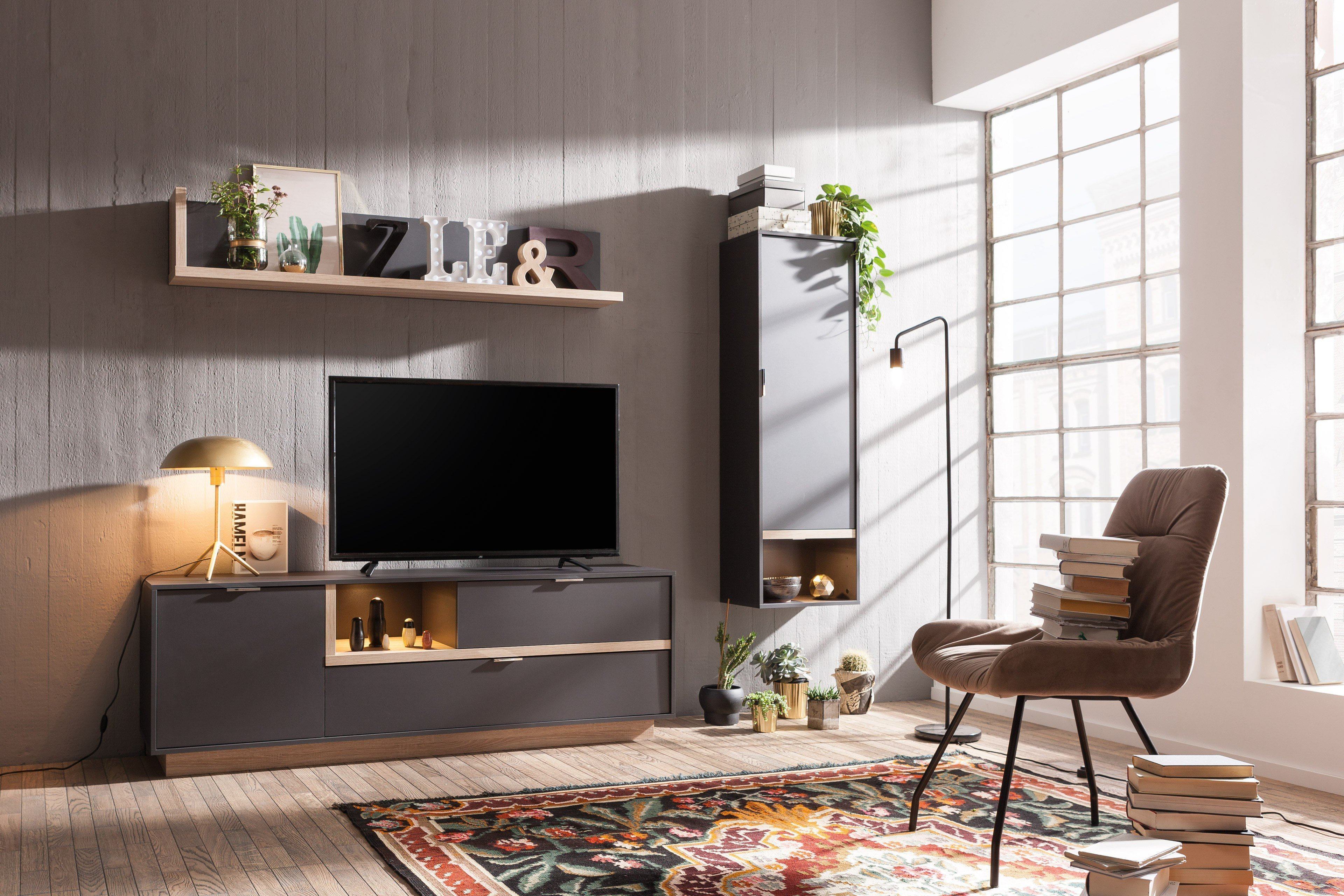 cs schmalm bel wohnwand my ell graphit eiche m bel letz ihr online shop. Black Bedroom Furniture Sets. Home Design Ideas