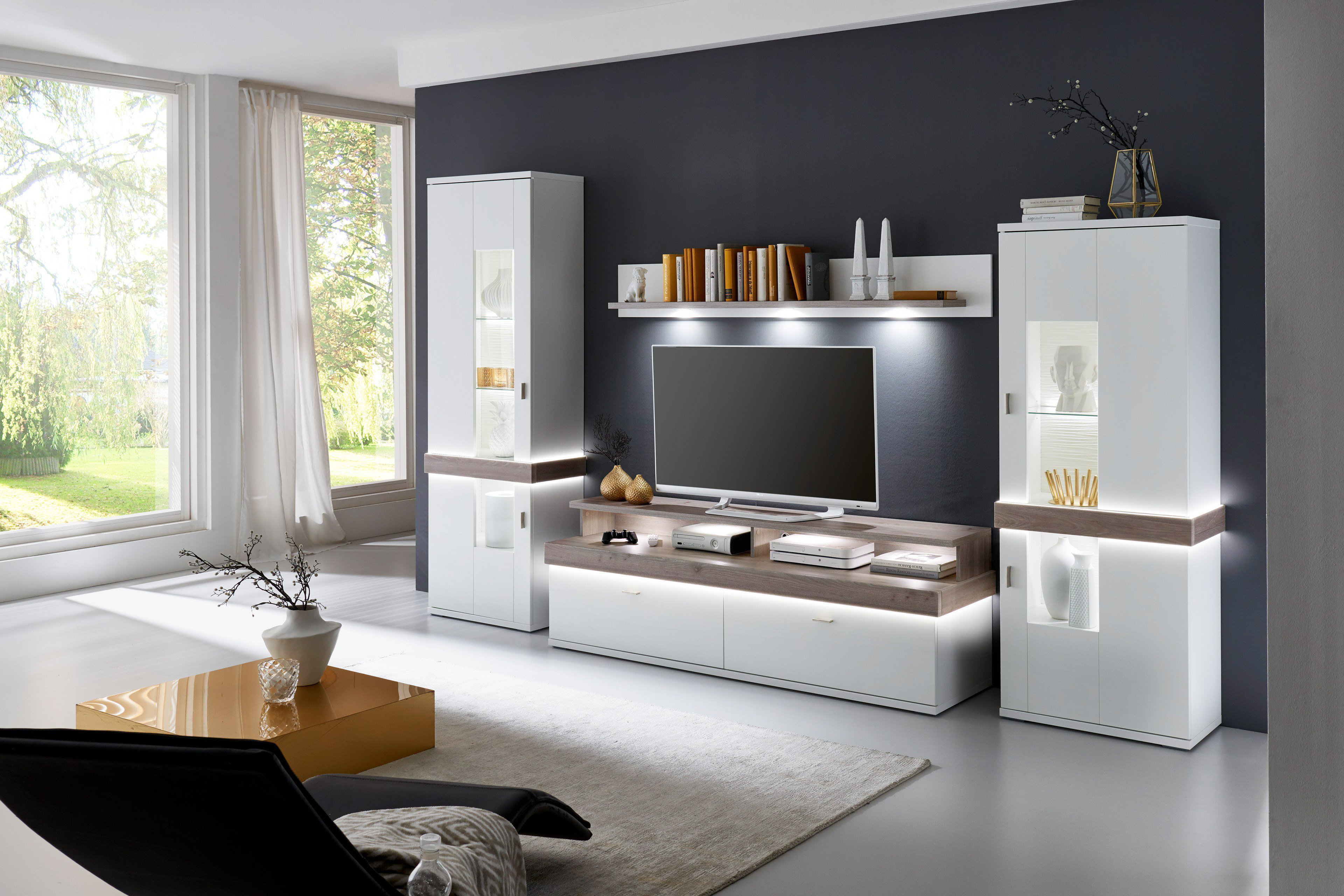 ideal m bel wohnwand albi wei nelson nordic m bel letz ihr online shop. Black Bedroom Furniture Sets. Home Design Ideas