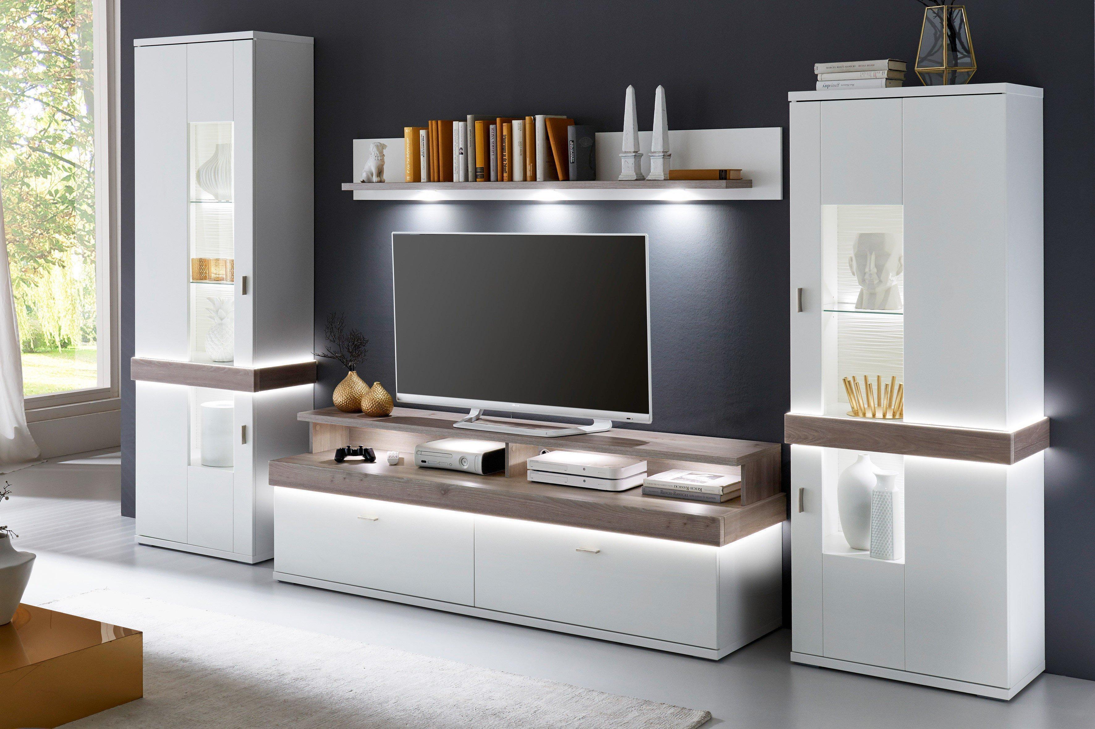 Albi Von IDEAL Möbel   Wohnwand Weiß/ Nelson Nordic