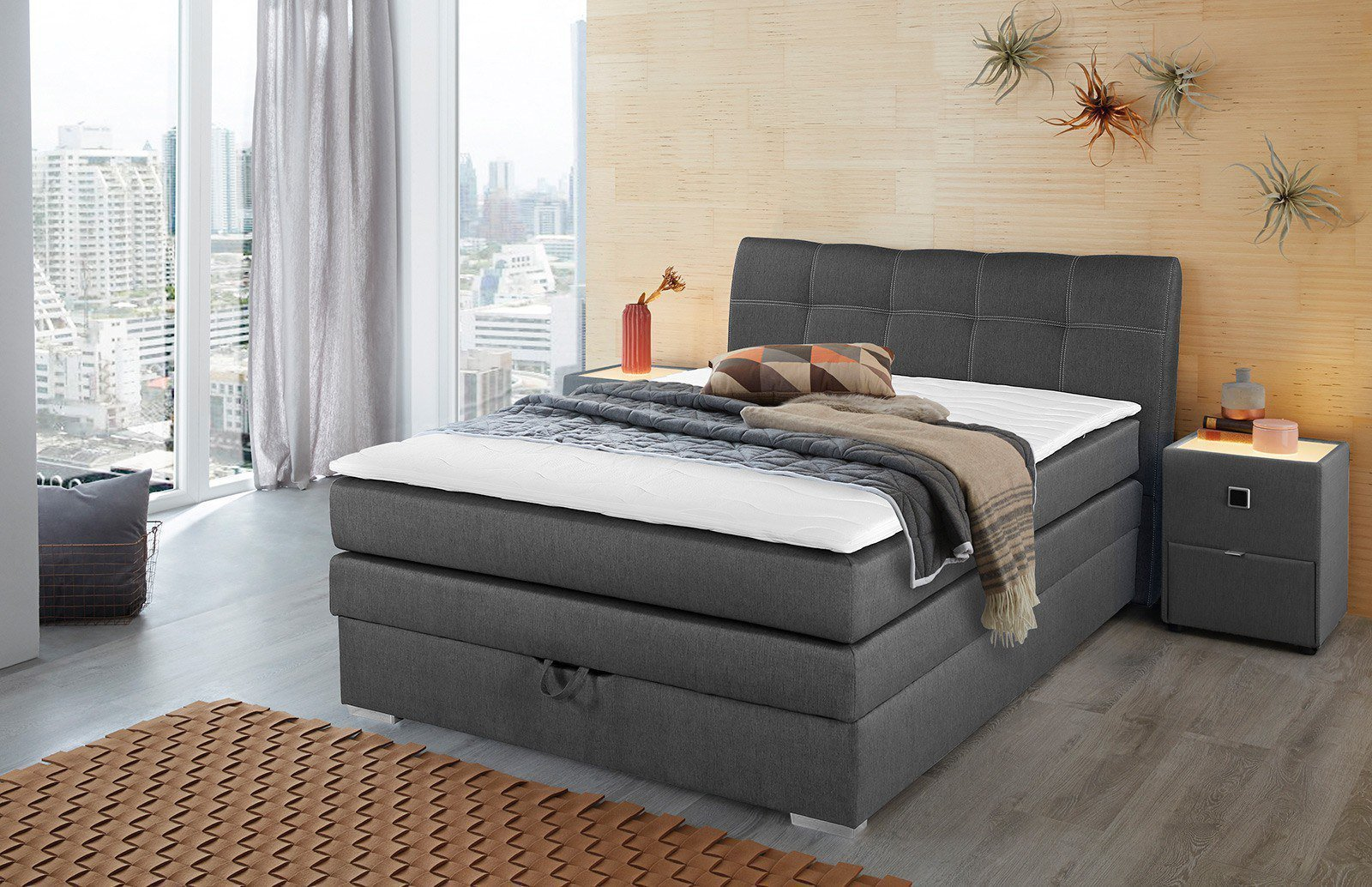 jockenh fer amelie boxspringbett in grau mit bettkasten. Black Bedroom Furniture Sets. Home Design Ideas