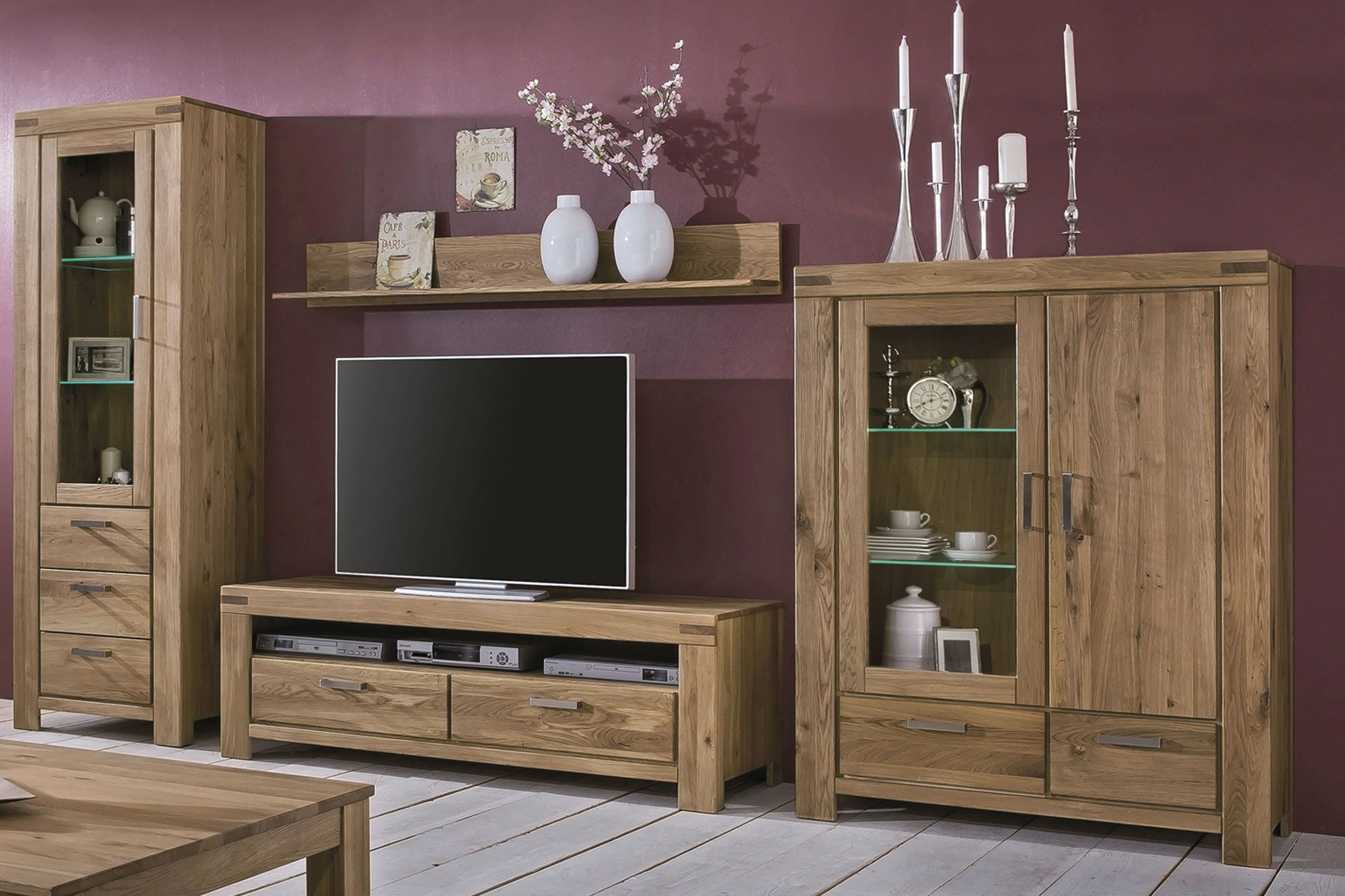 elfo m bel wohnwand kira massive wildeiche ge lt m bel. Black Bedroom Furniture Sets. Home Design Ideas