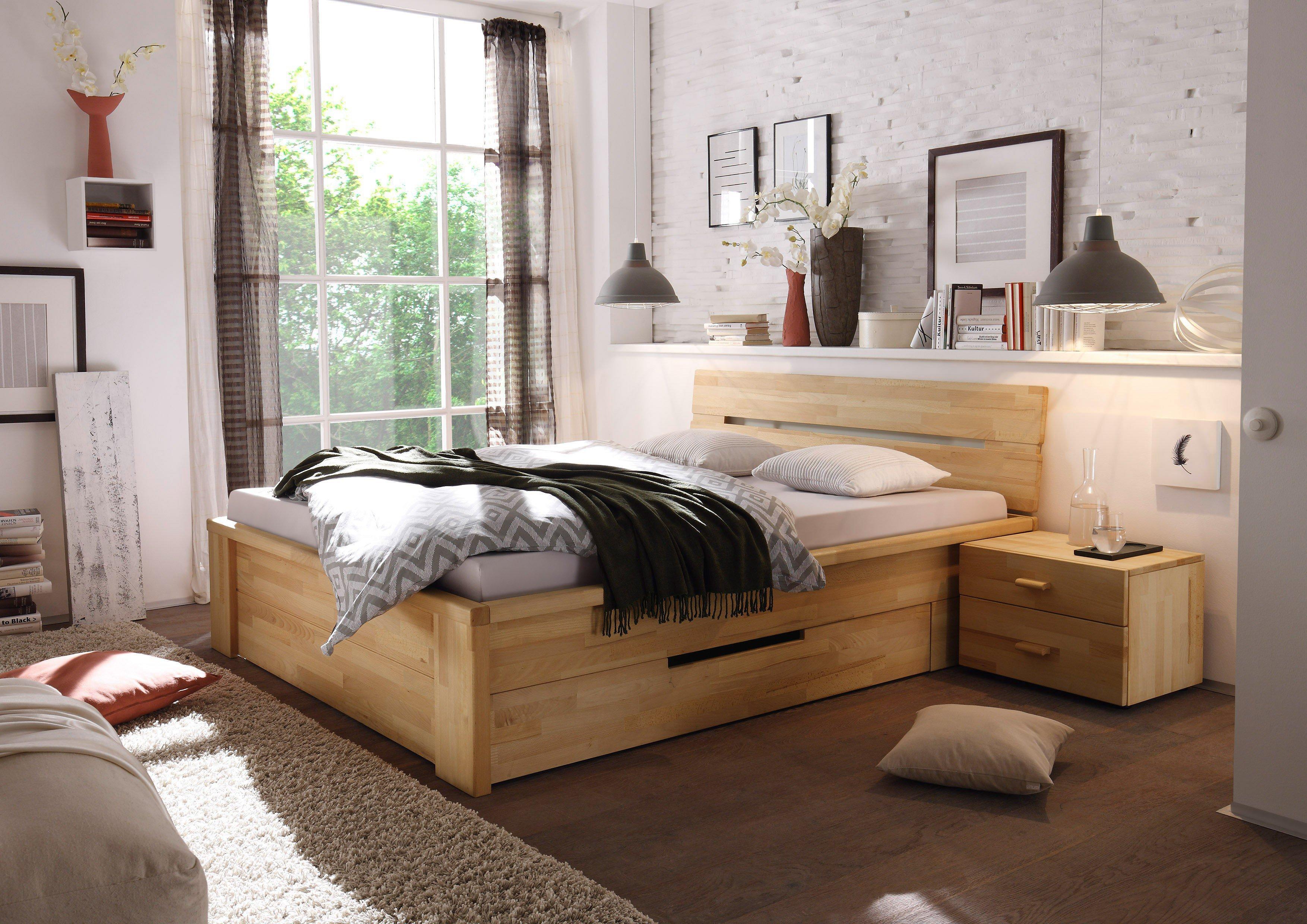 Naturmöbel holzbett 140 200 mit schubladen dekoration ideen