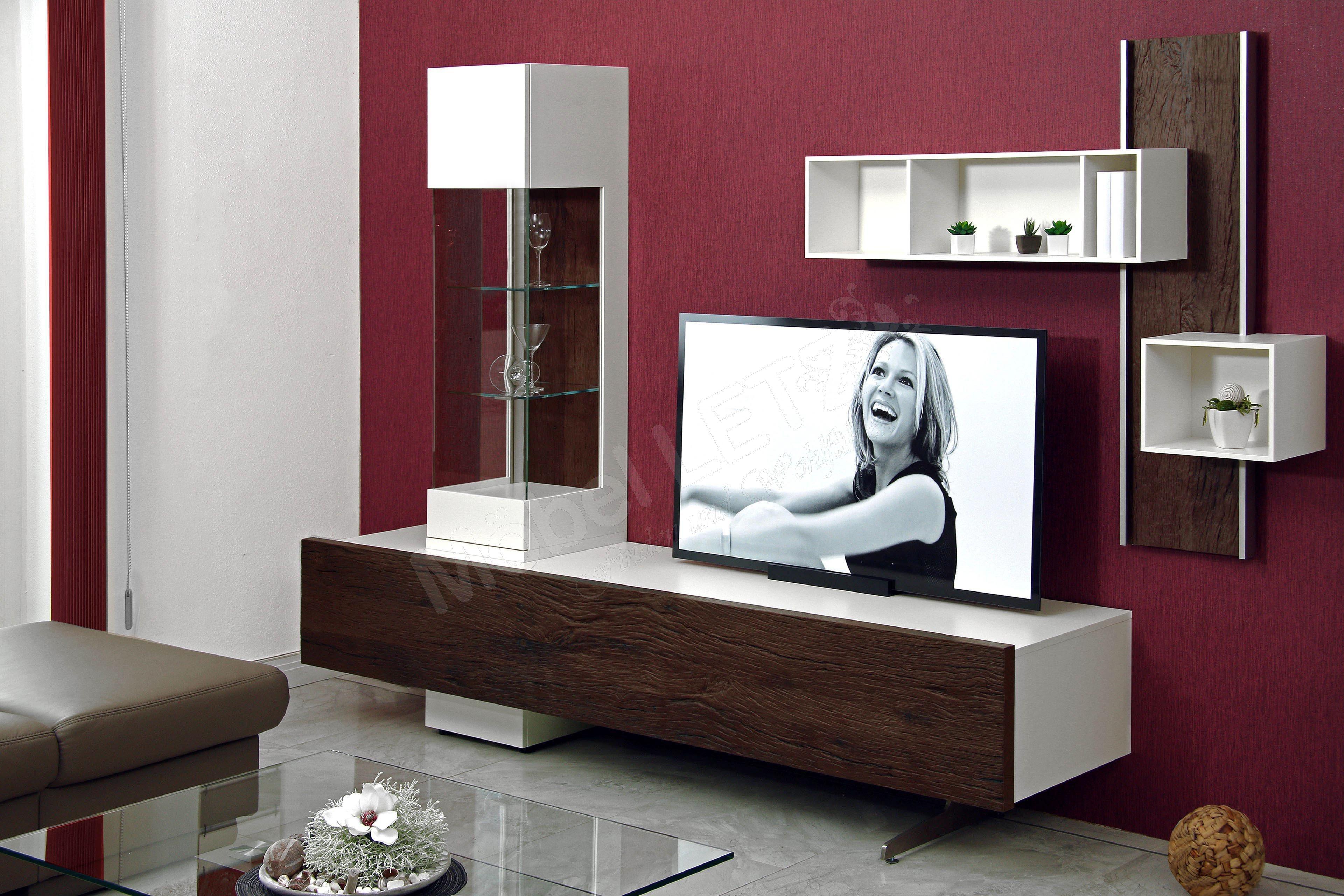 gwinner international wohnwand bohle bl1 wei eiche. Black Bedroom Furniture Sets. Home Design Ideas
